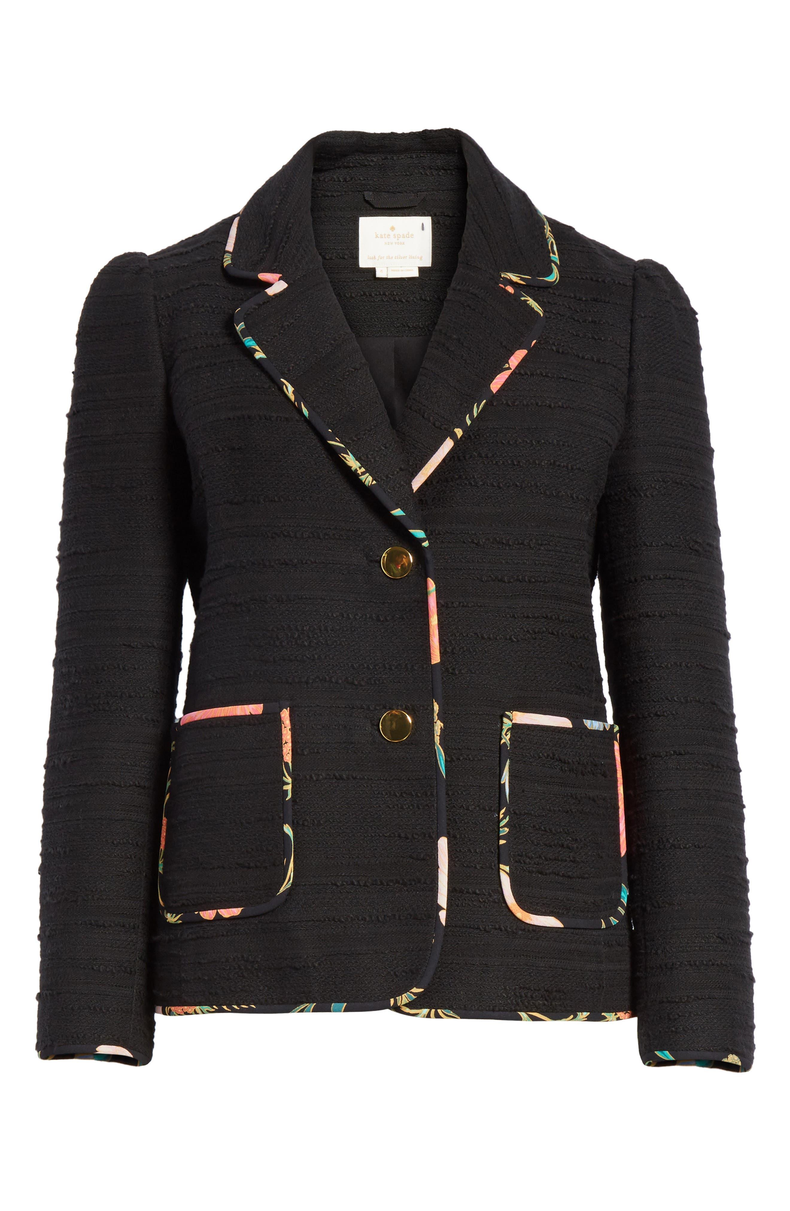 blossom trim tweed jacket,                             Alternate thumbnail 6, color,                             Black
