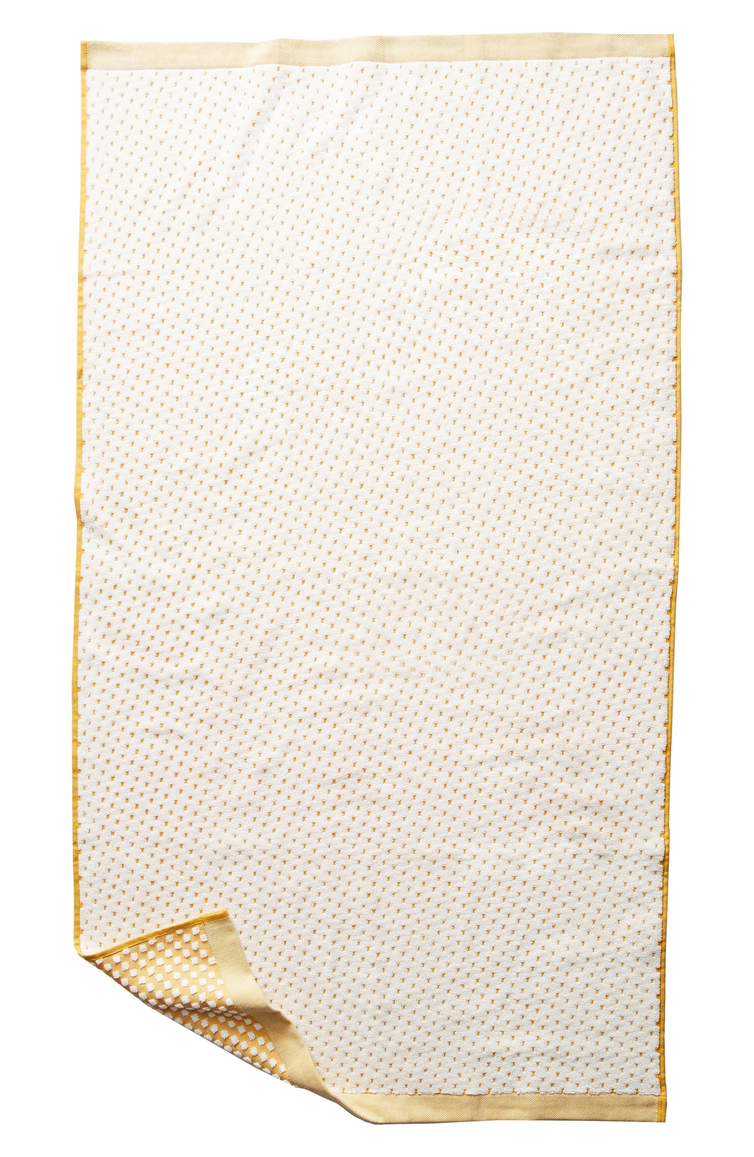 Dot Jacquard Bath Towel,                             Alternate thumbnail 4, color,                             Ochre