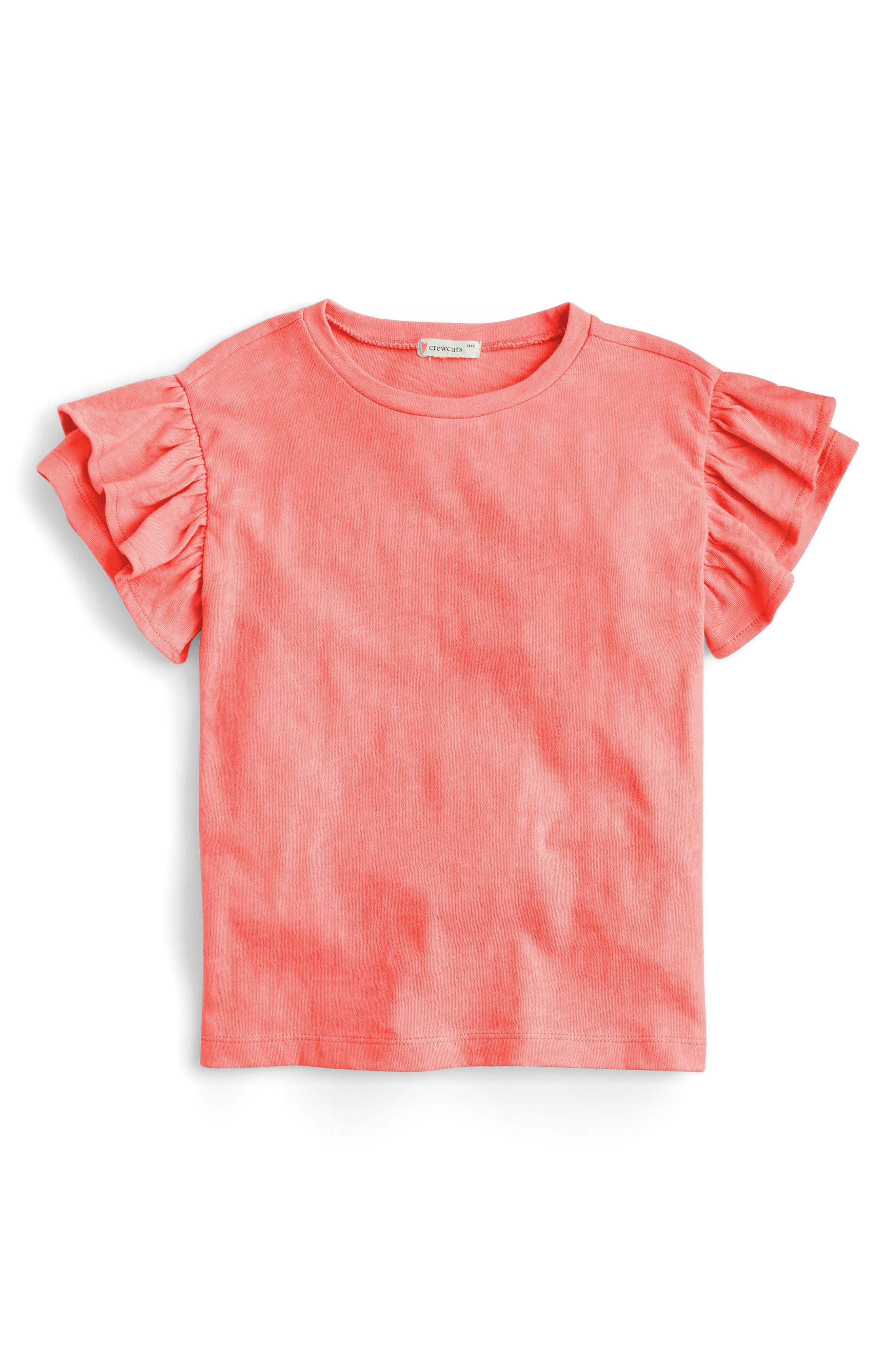 Flutter Sleeve T-Shirt,                         Main,                         color, Coral Blossom