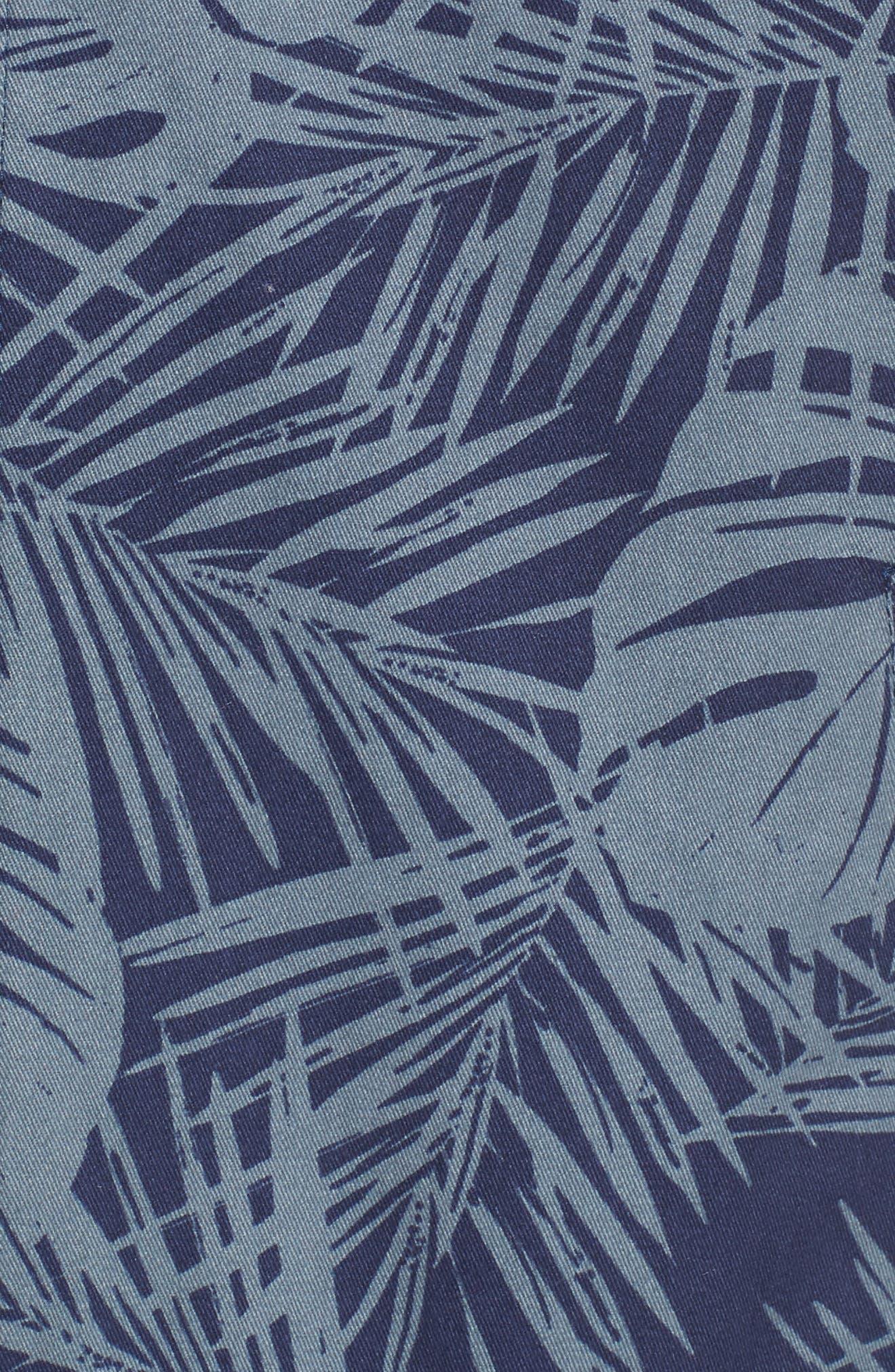Print Bomber Jacket,                             Alternate thumbnail 5, color,                             Navy Peacoat Grey Palms