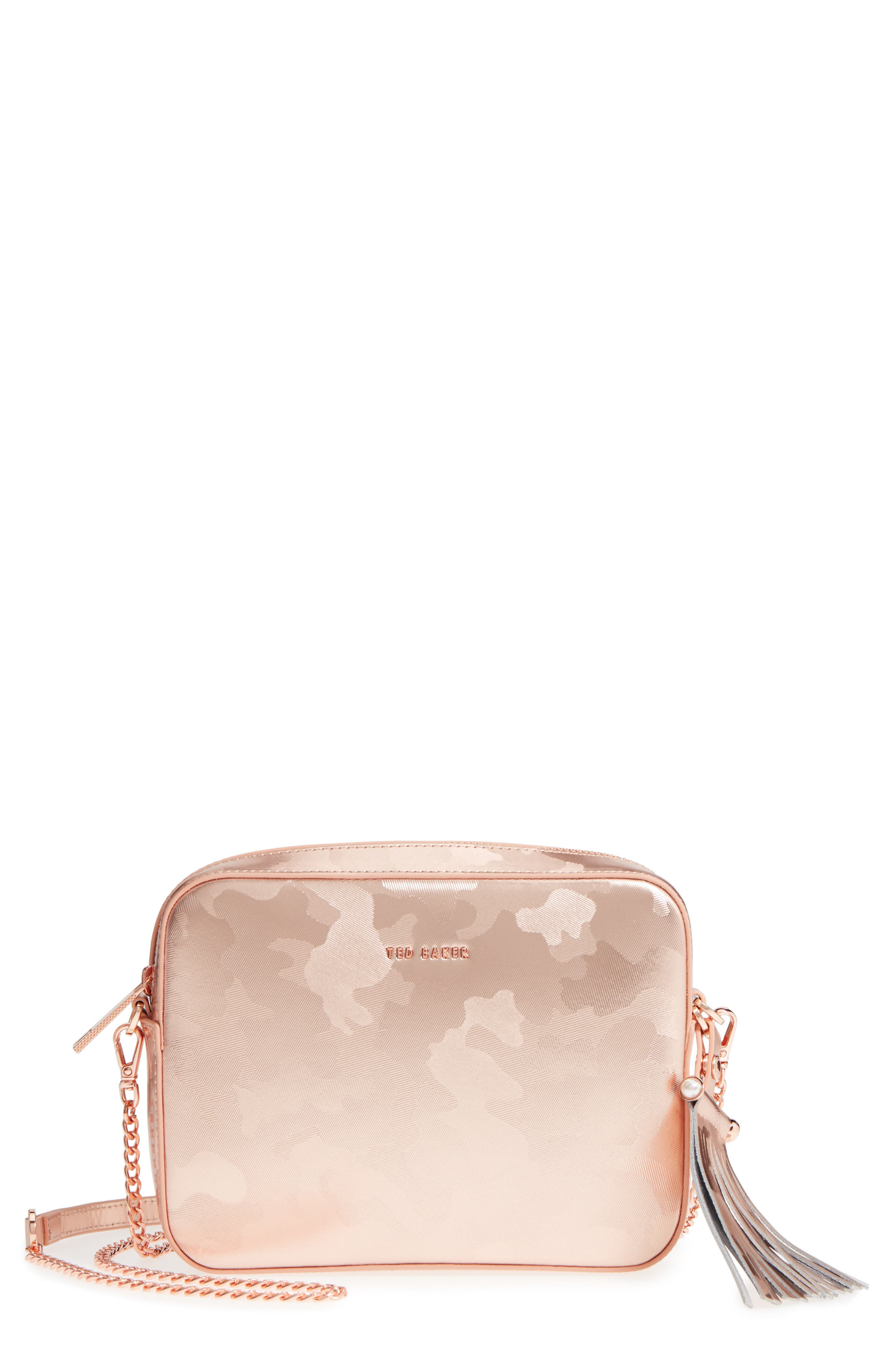 Camouflage Leather Camera Bag,                             Main thumbnail 1, color,                             Rose Gold