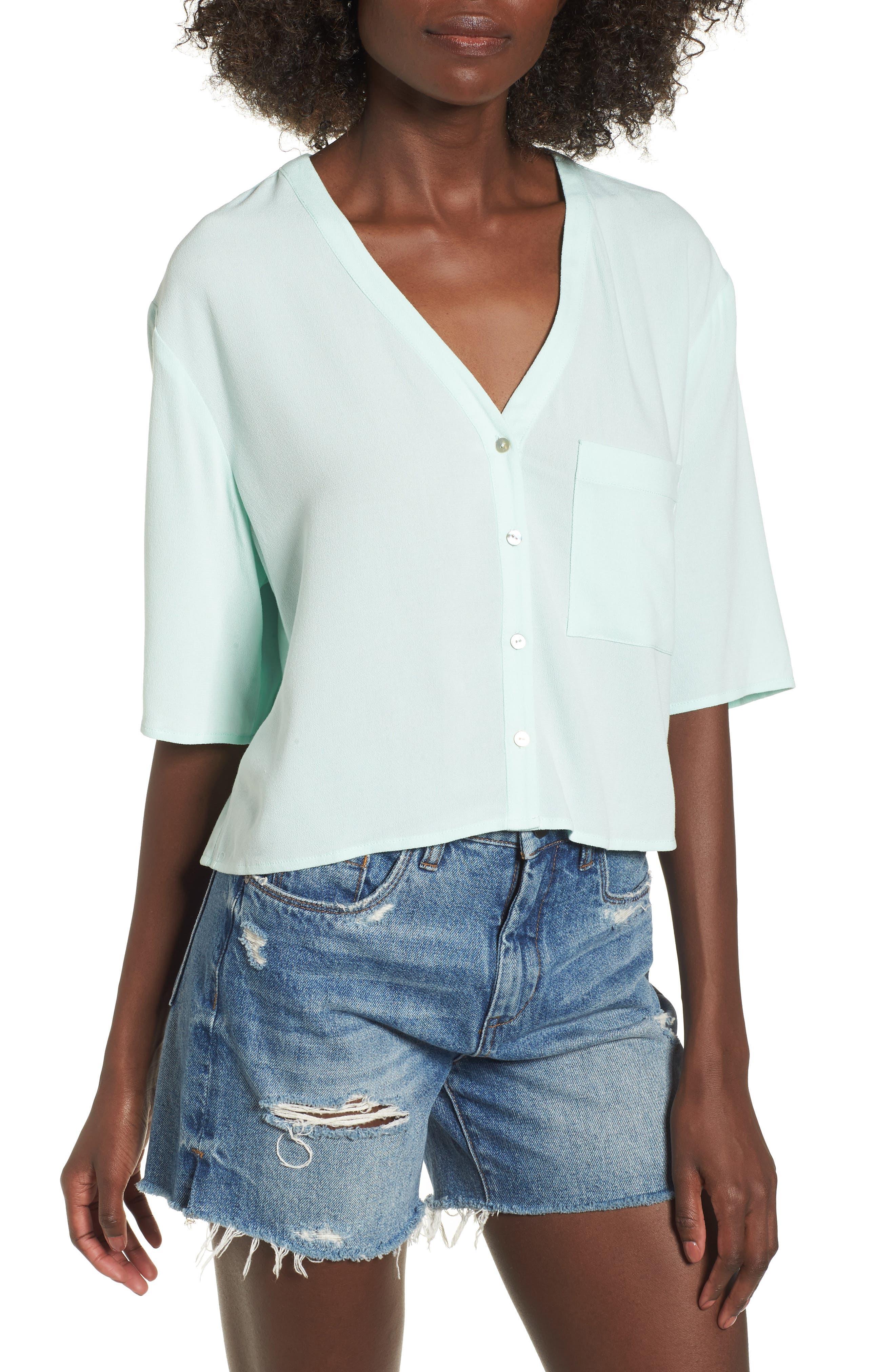 Crepe Button Front Shirt,                         Main,                         color, Mint