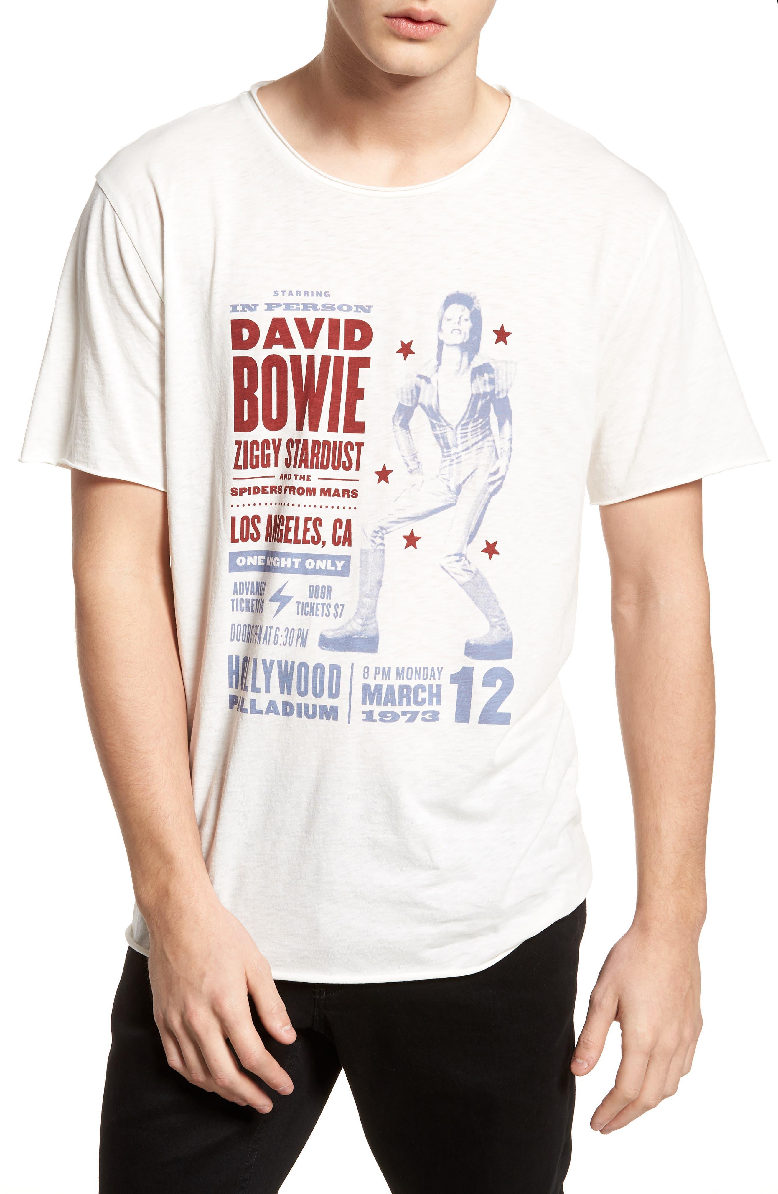 David Bowie Crewneck T-Shirt,                         Main,                         color, Ivory David Bowie