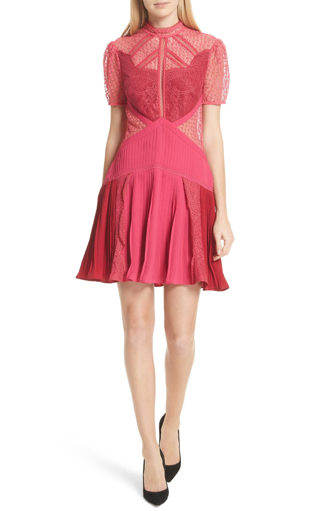 Paneled Lace Dress,                         Main,                         color, Rasberry Red