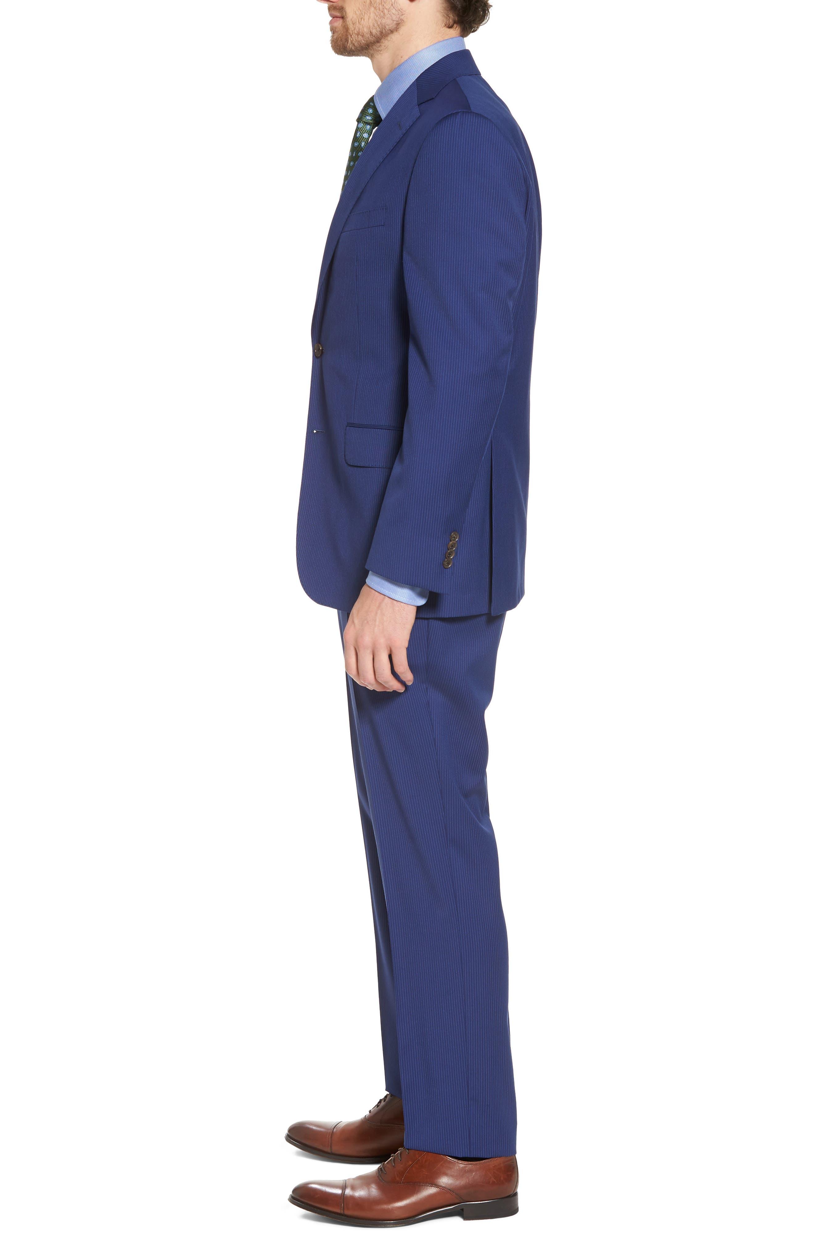 Ryan Classic Fit Stripe Wool Suit,                             Alternate thumbnail 3, color,                             Medium Blue