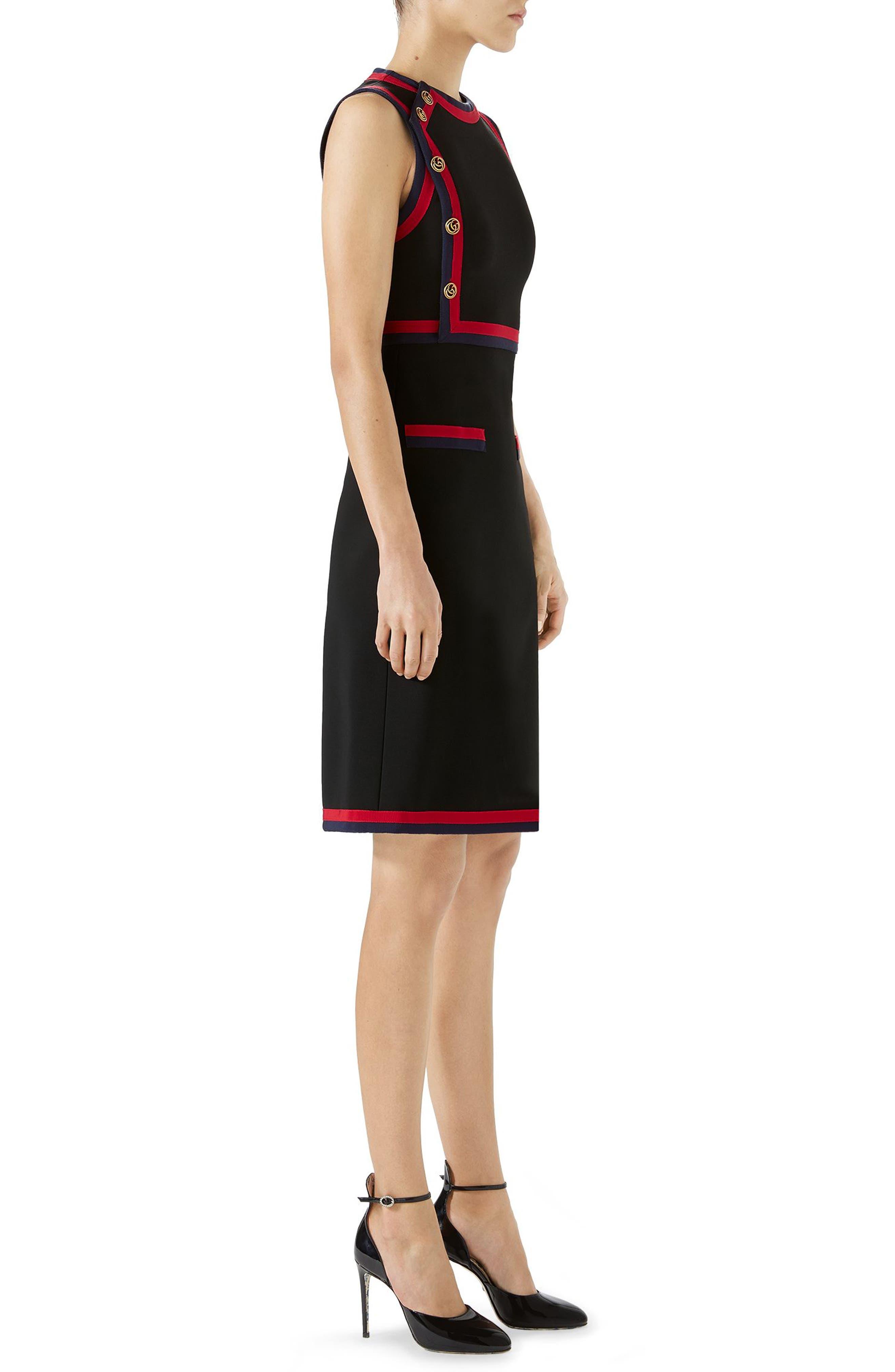 Stripe Trim Jersey A-Line Dress,                             Alternate thumbnail 3, color,                             Black/ Multicolor