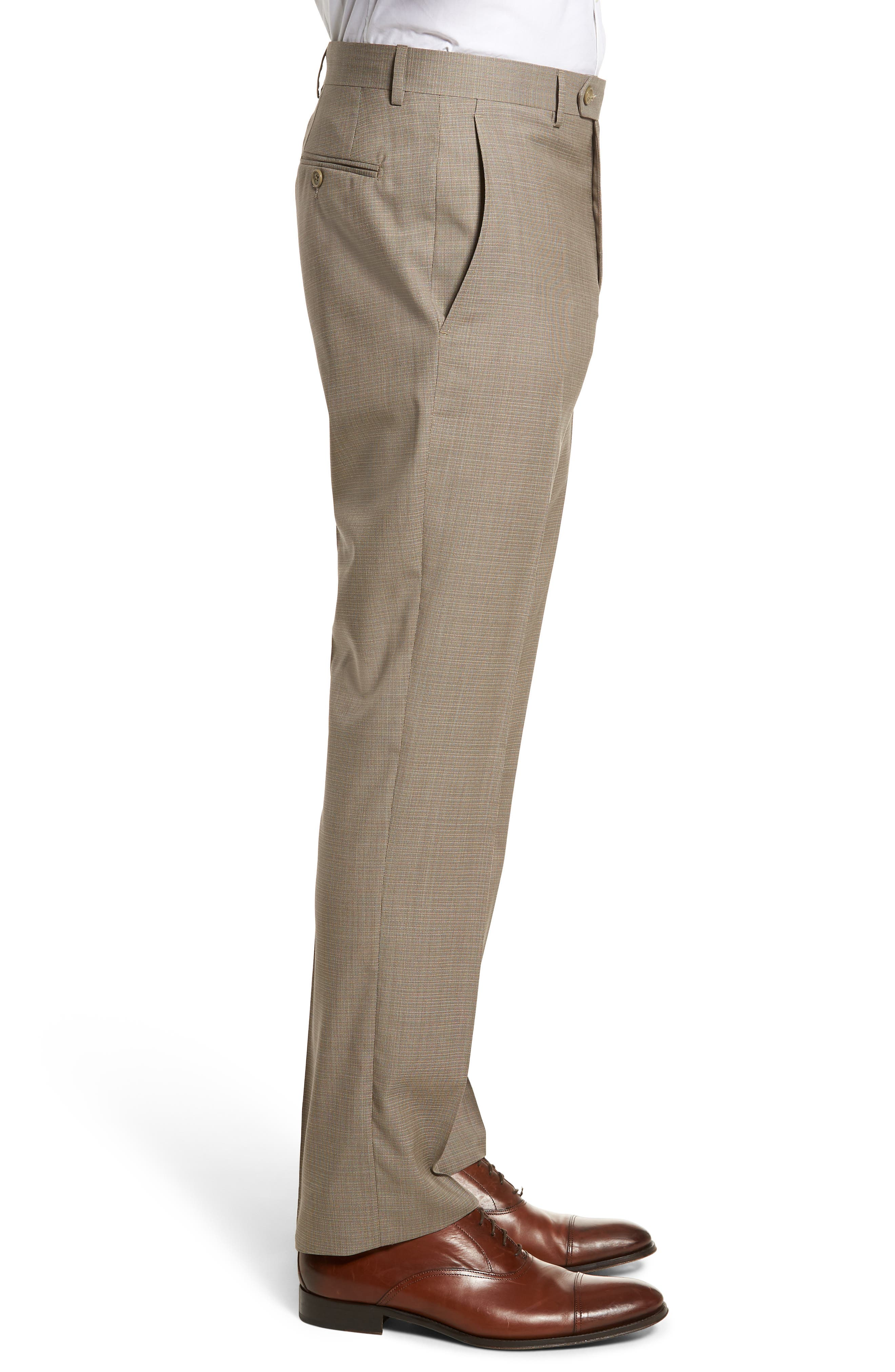 Flat Front Check Wool Trousers,                             Alternate thumbnail 3, color,                             Dark Tan