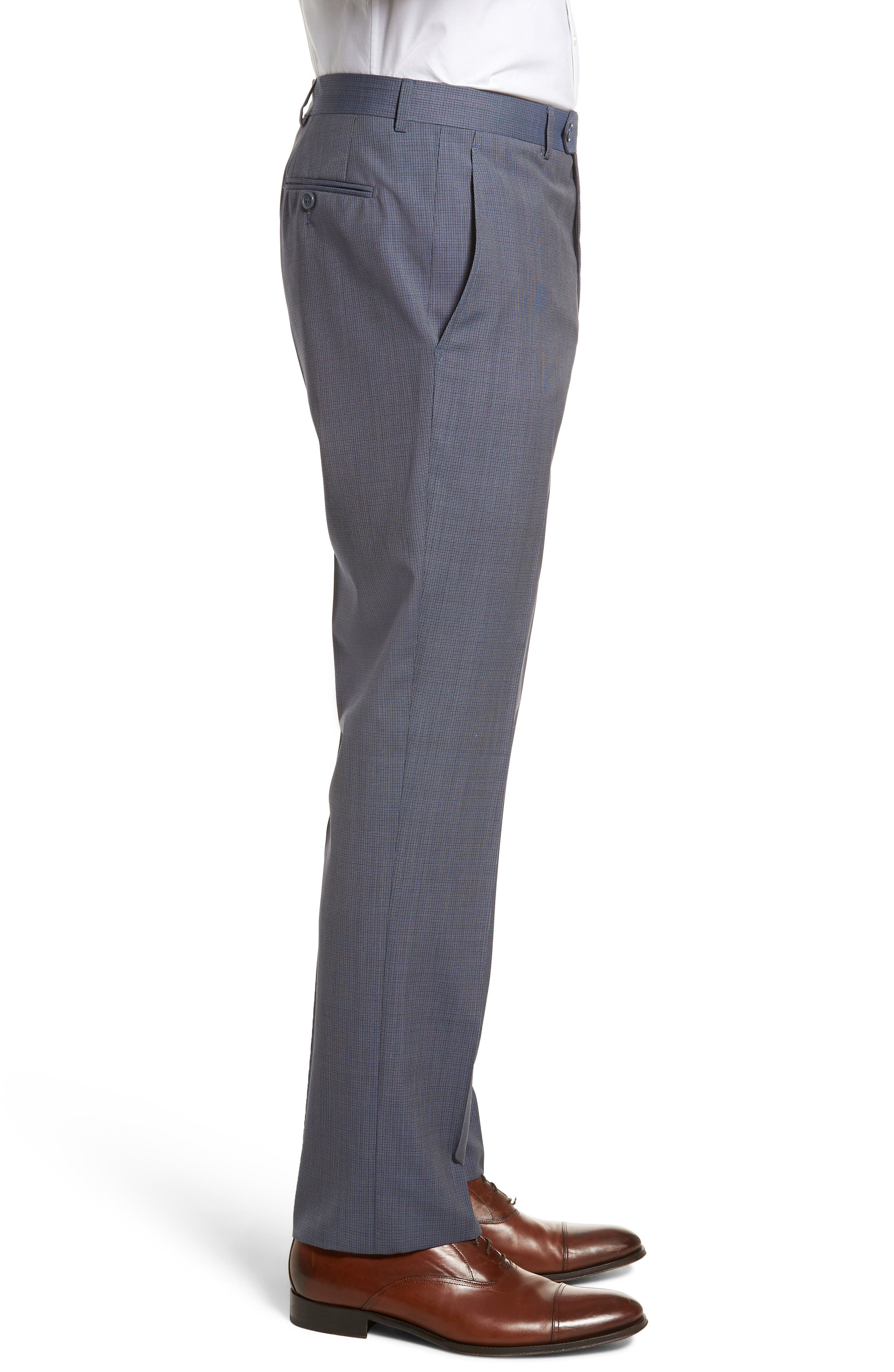 Flat Front Check Wool Trousers,                             Alternate thumbnail 3, color,                             Blue