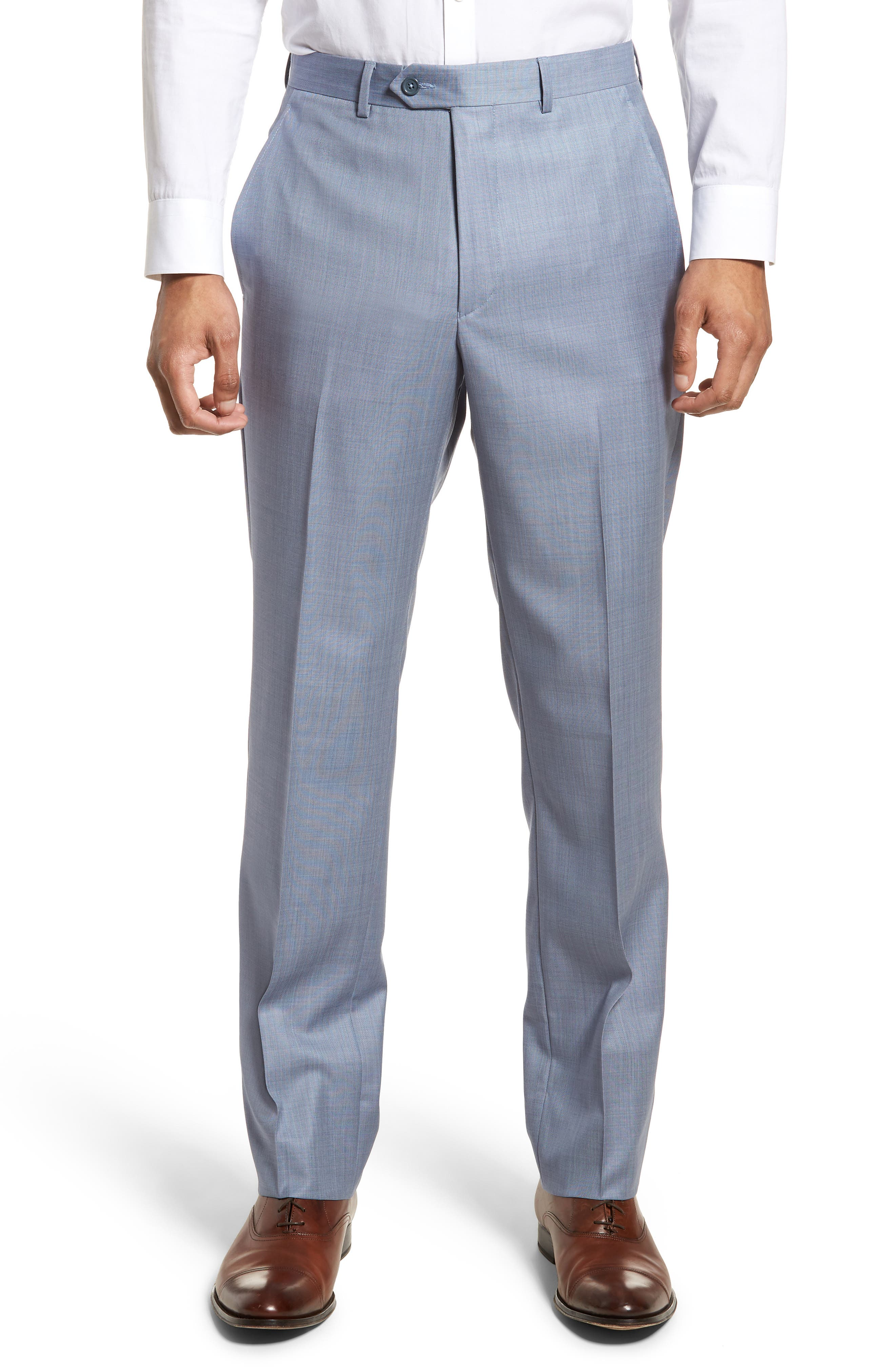 Flat Front Solid Wool Trousers,                             Main thumbnail 1, color,                             Soft Blue