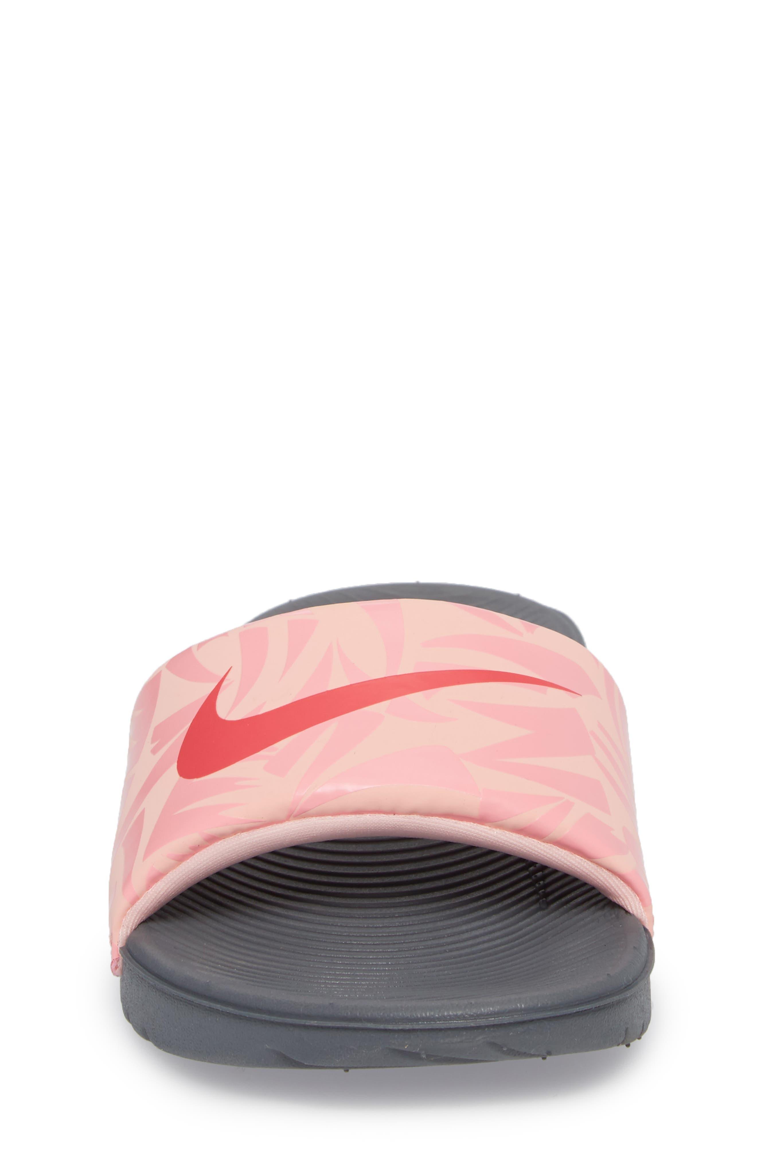 'Kawa' Print Slide Sandal,                             Alternate thumbnail 4, color,                             Grey/ Tropical Pink/ Coral