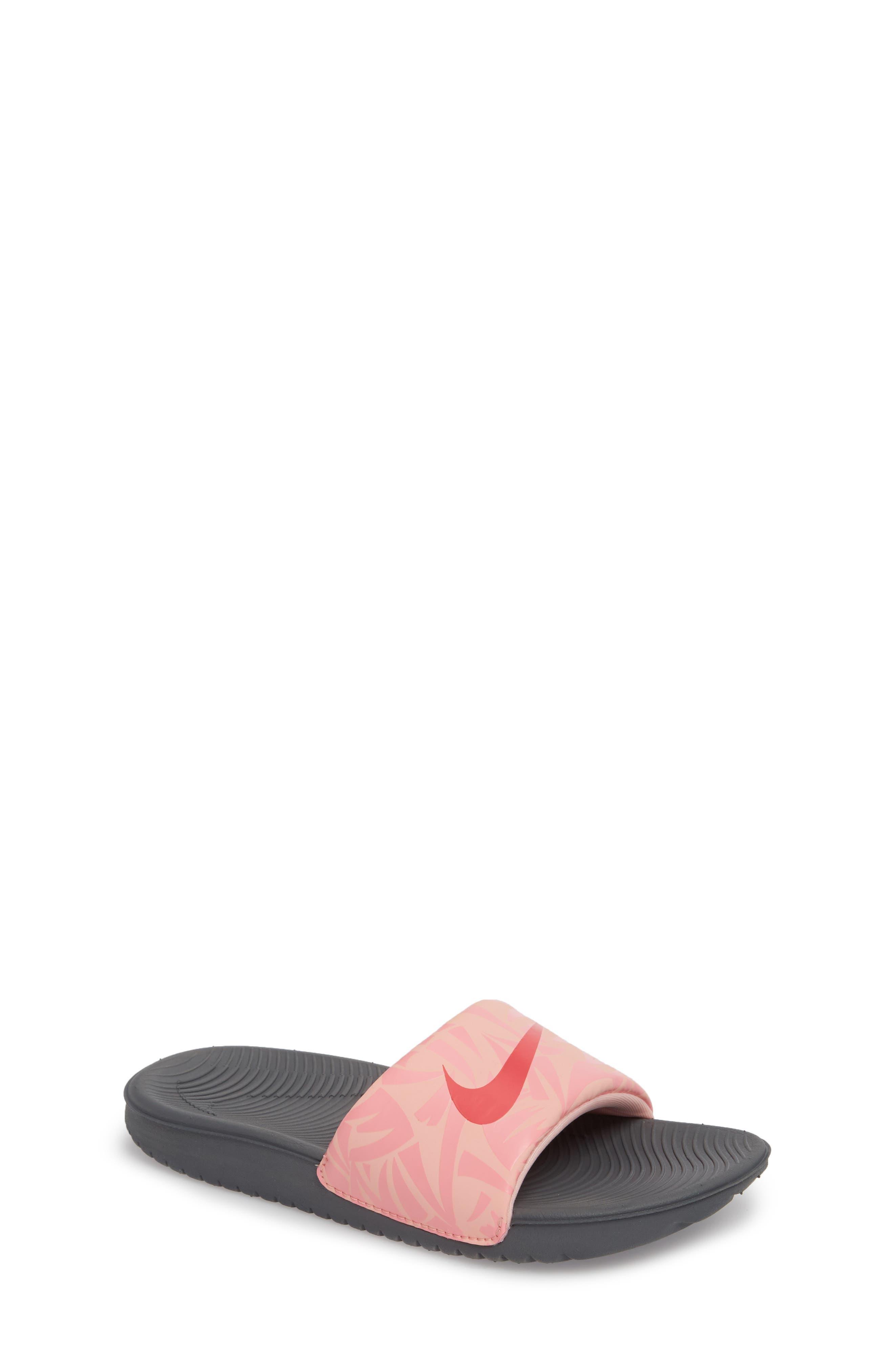 'Kawa' Print Slide Sandal,                             Main thumbnail 1, color,                             Grey/ Tropical Pink/ Coral