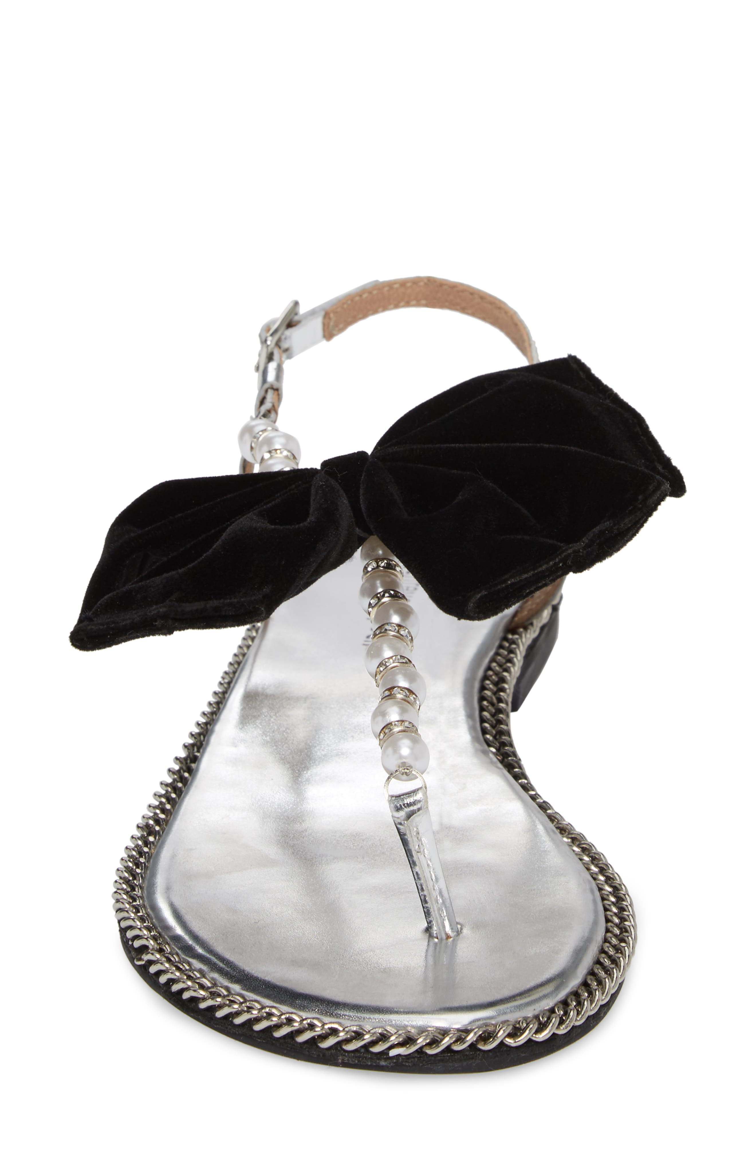 Adelisa Sandal,                             Alternate thumbnail 4, color,                             Silver Black Velvet