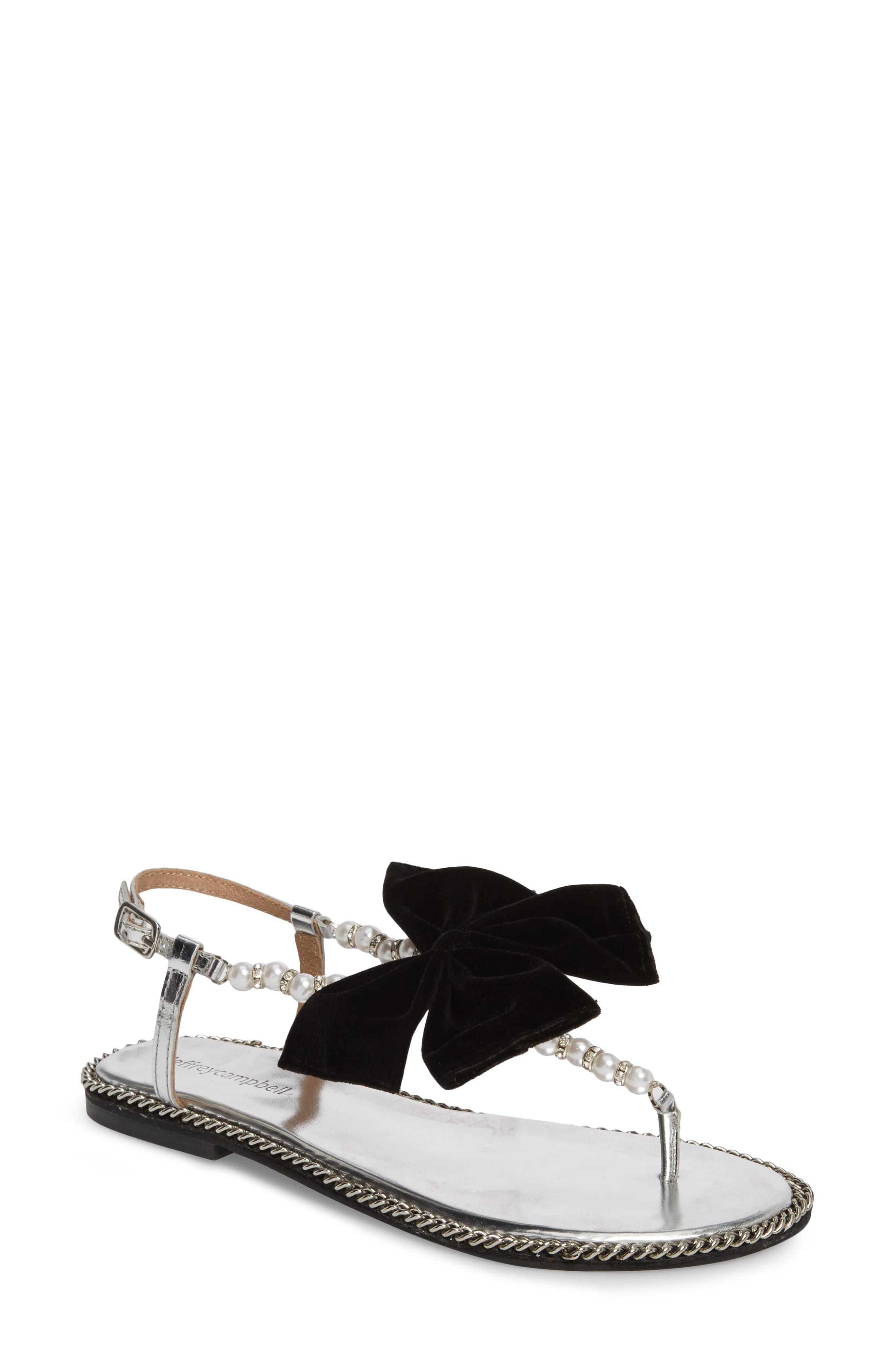 Adelisa Sandal,                         Main,                         color, Silver Black Velvet