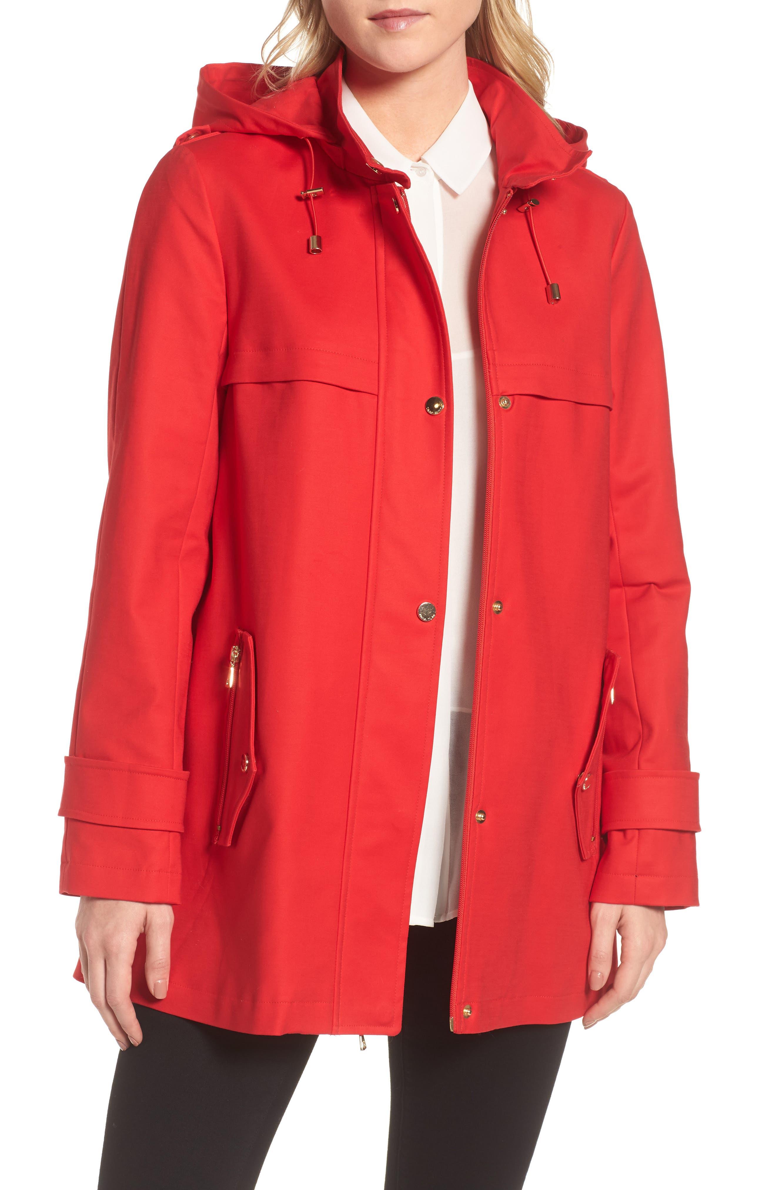 A-Line Rain Jacket,                         Main,                         color, Red