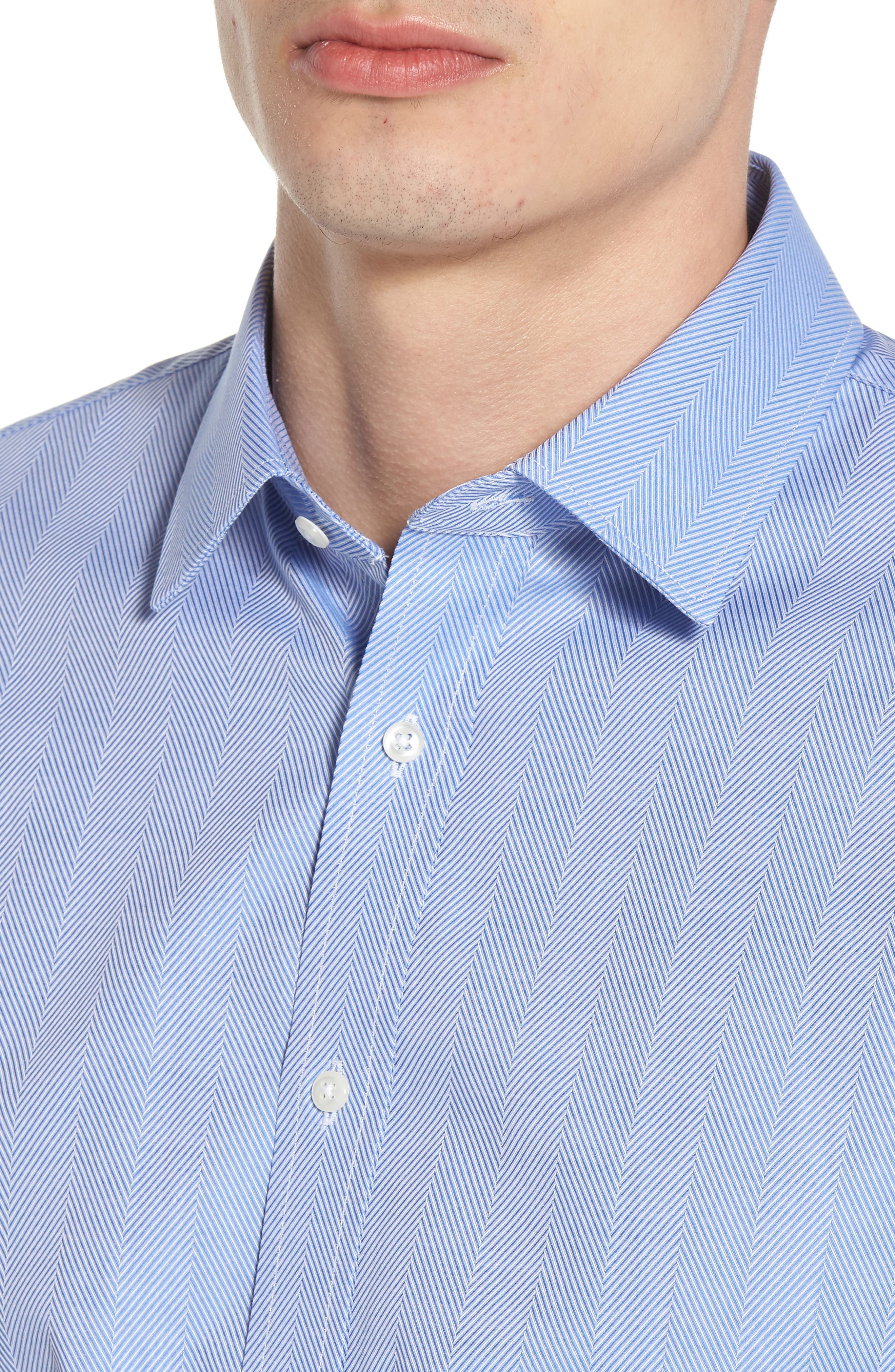 Trim Fit Herringbone Dress Shirt,                             Alternate thumbnail 2, color,                             Blue Provence