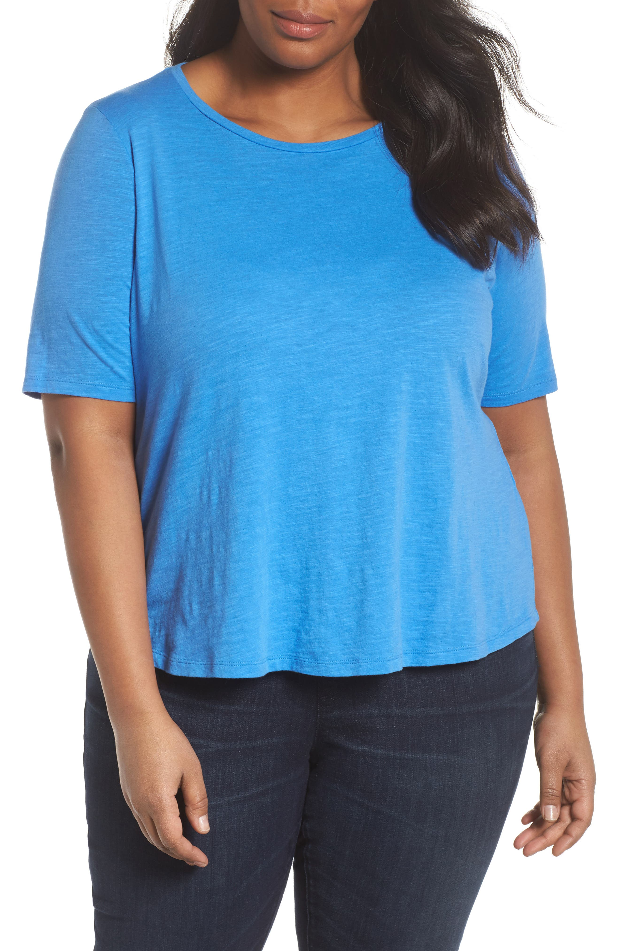Alternate Image 1 Selected - Eileen Fisher Crewneck Tee (Plus Size)