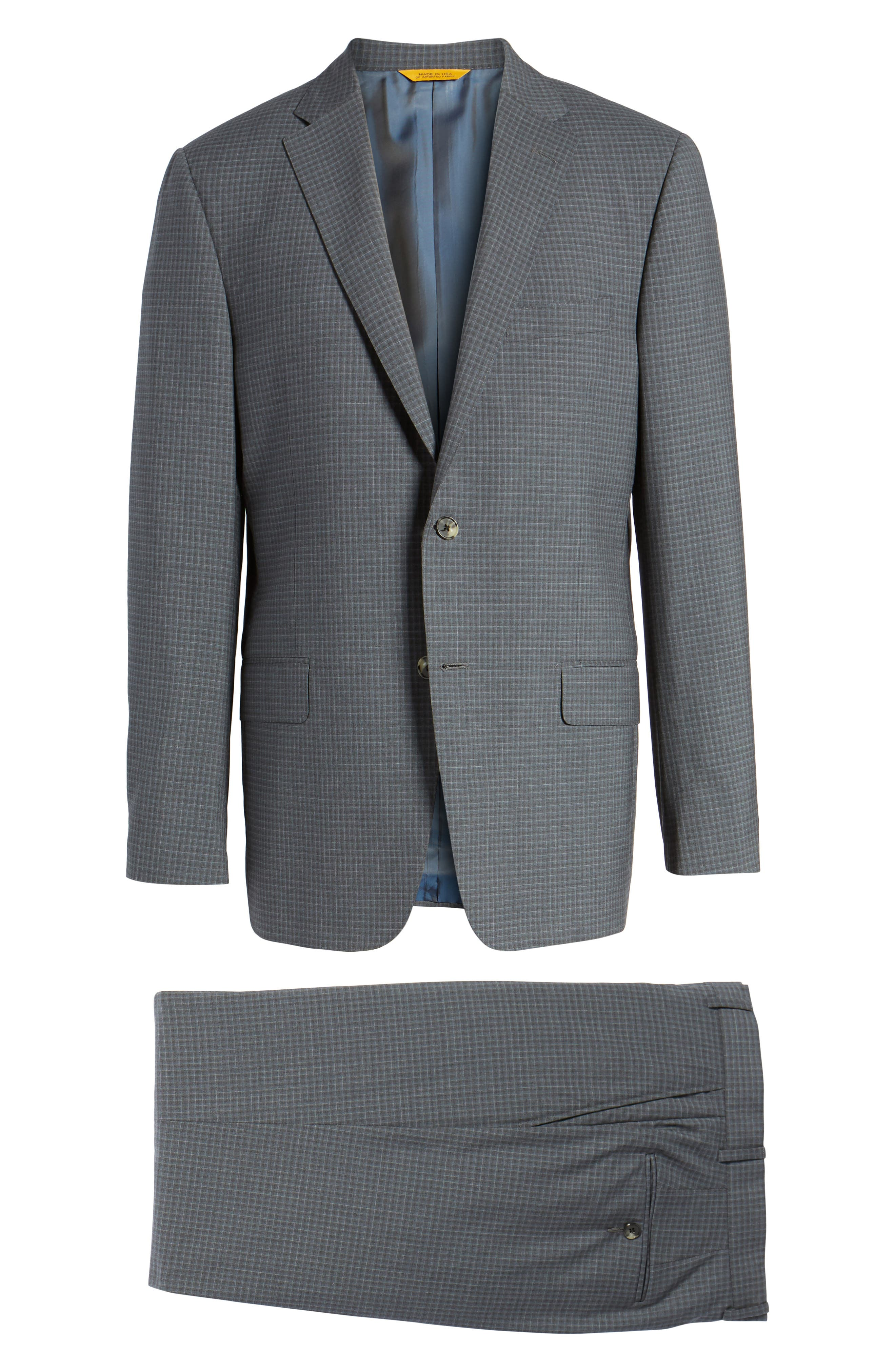 Classic B Fit Check Wool Suit,                             Alternate thumbnail 8, color,                             Charcoal