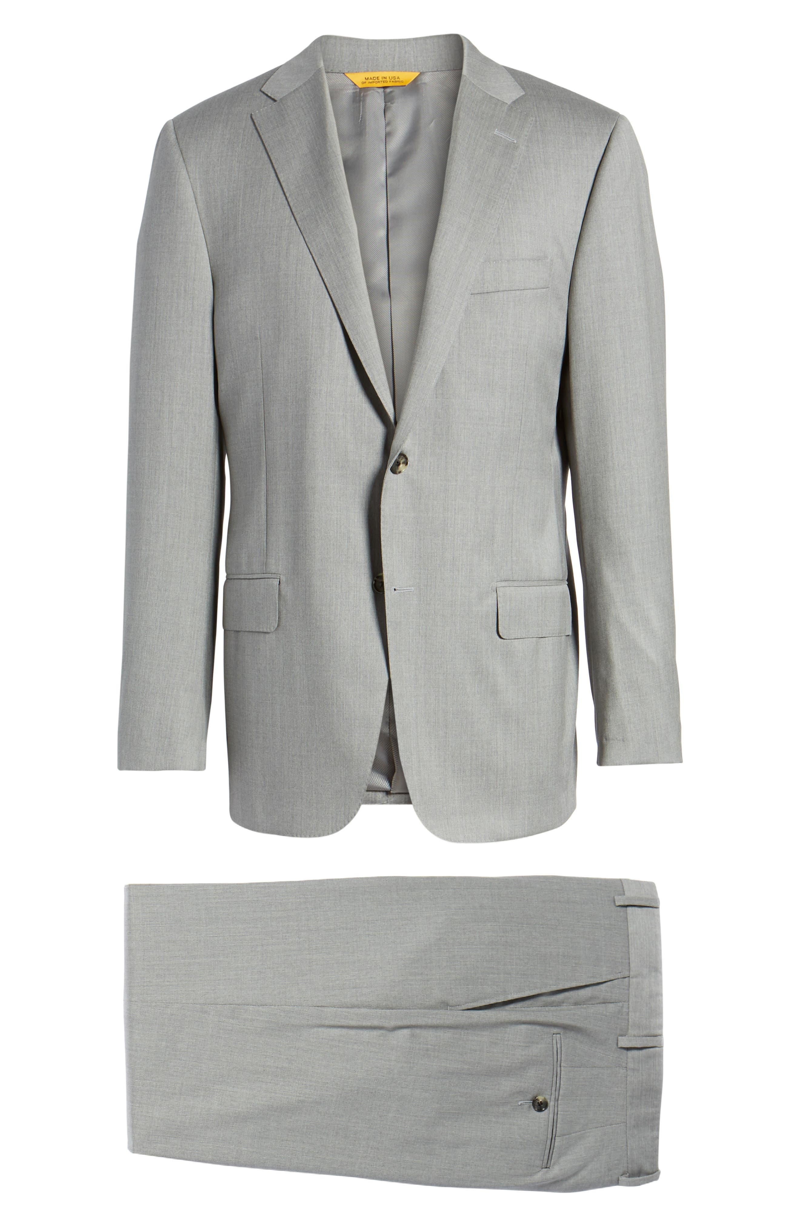 Classic B Fit Solid Wool Suit,                             Alternate thumbnail 8, color,                             Grey