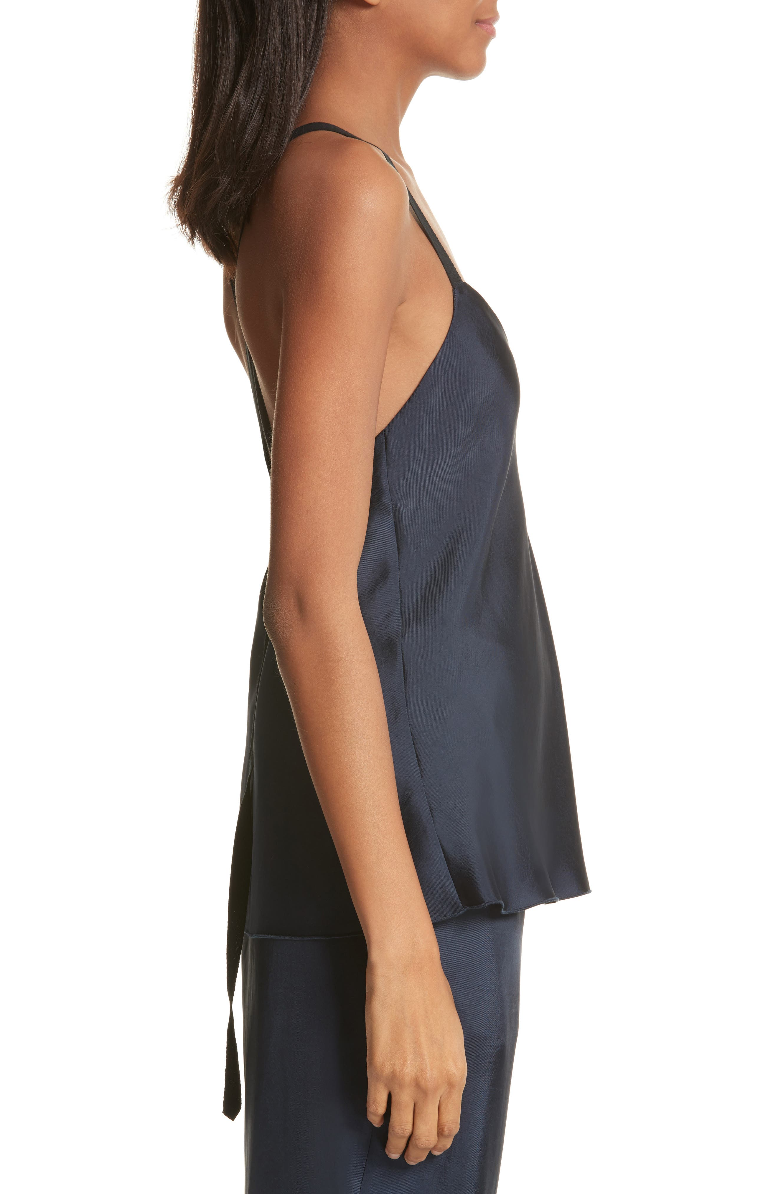 Mendini Strappy Back Silk Camisole,                             Alternate thumbnail 3, color,                             Navy