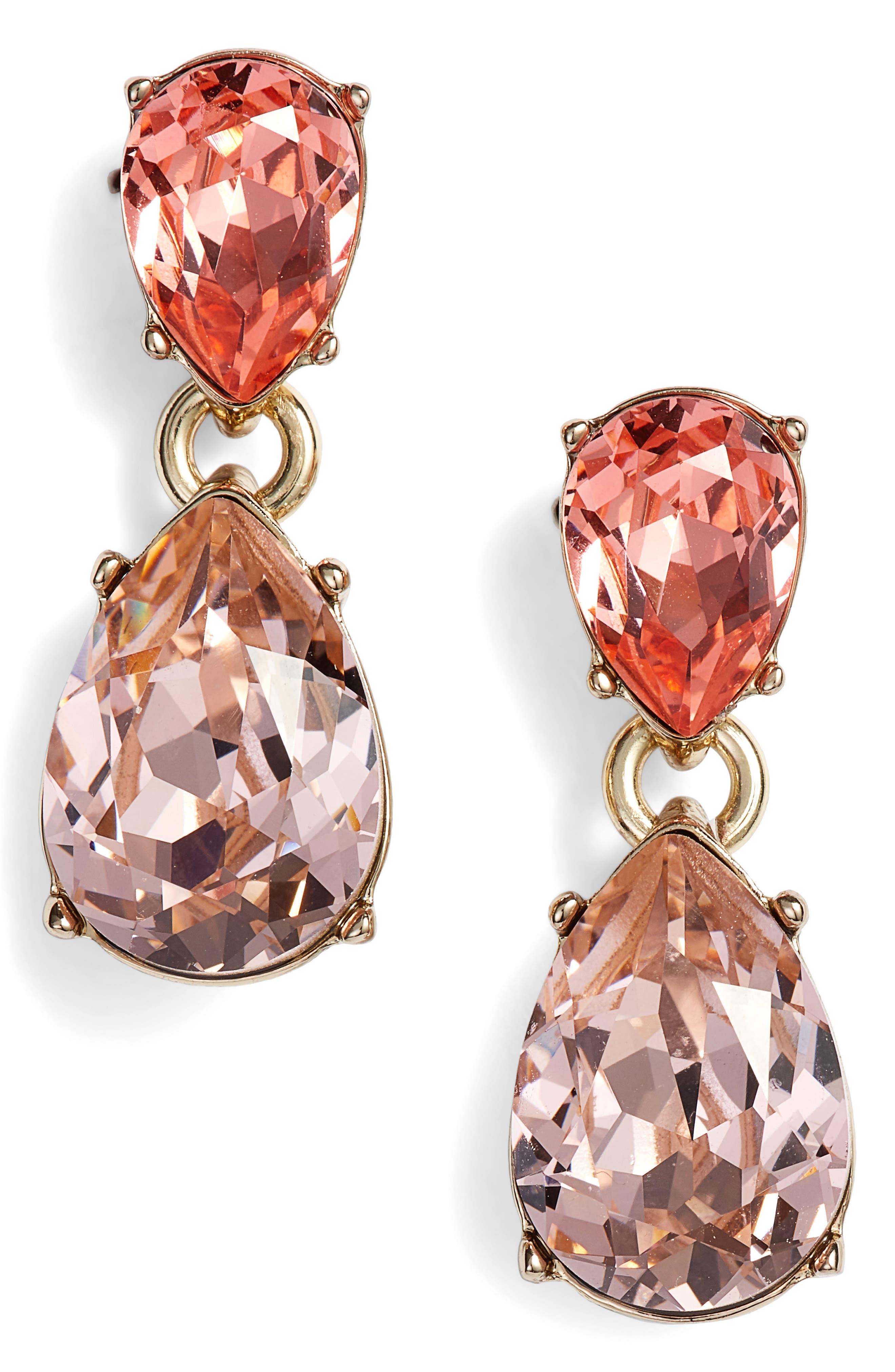 Double Pear Crystal Earrings,                             Main thumbnail 1, color,                             Gold/ Peach Multi
