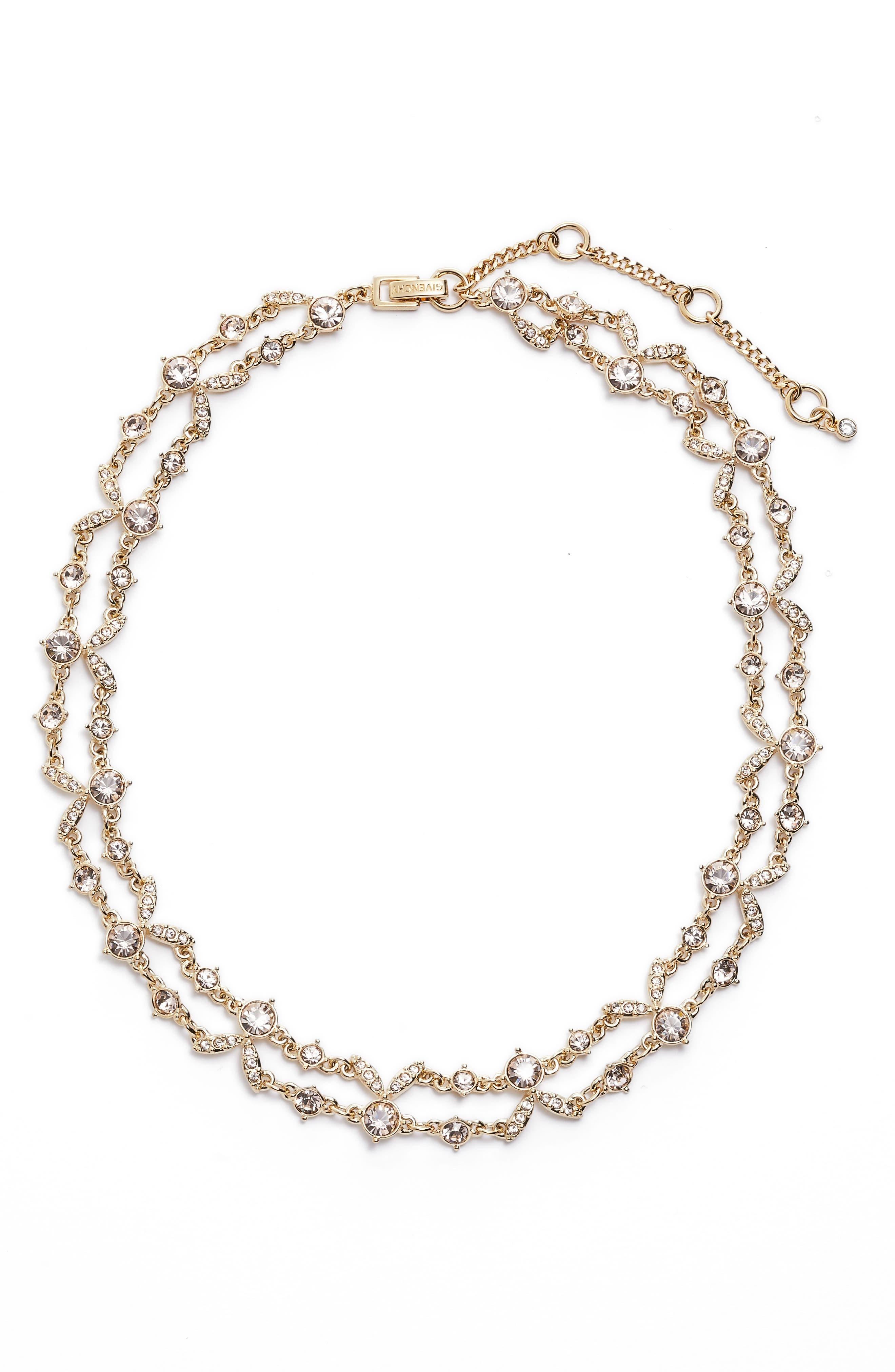 2-Row Crystal Collar Necklace,                         Main,                         color, Gold/ Silk