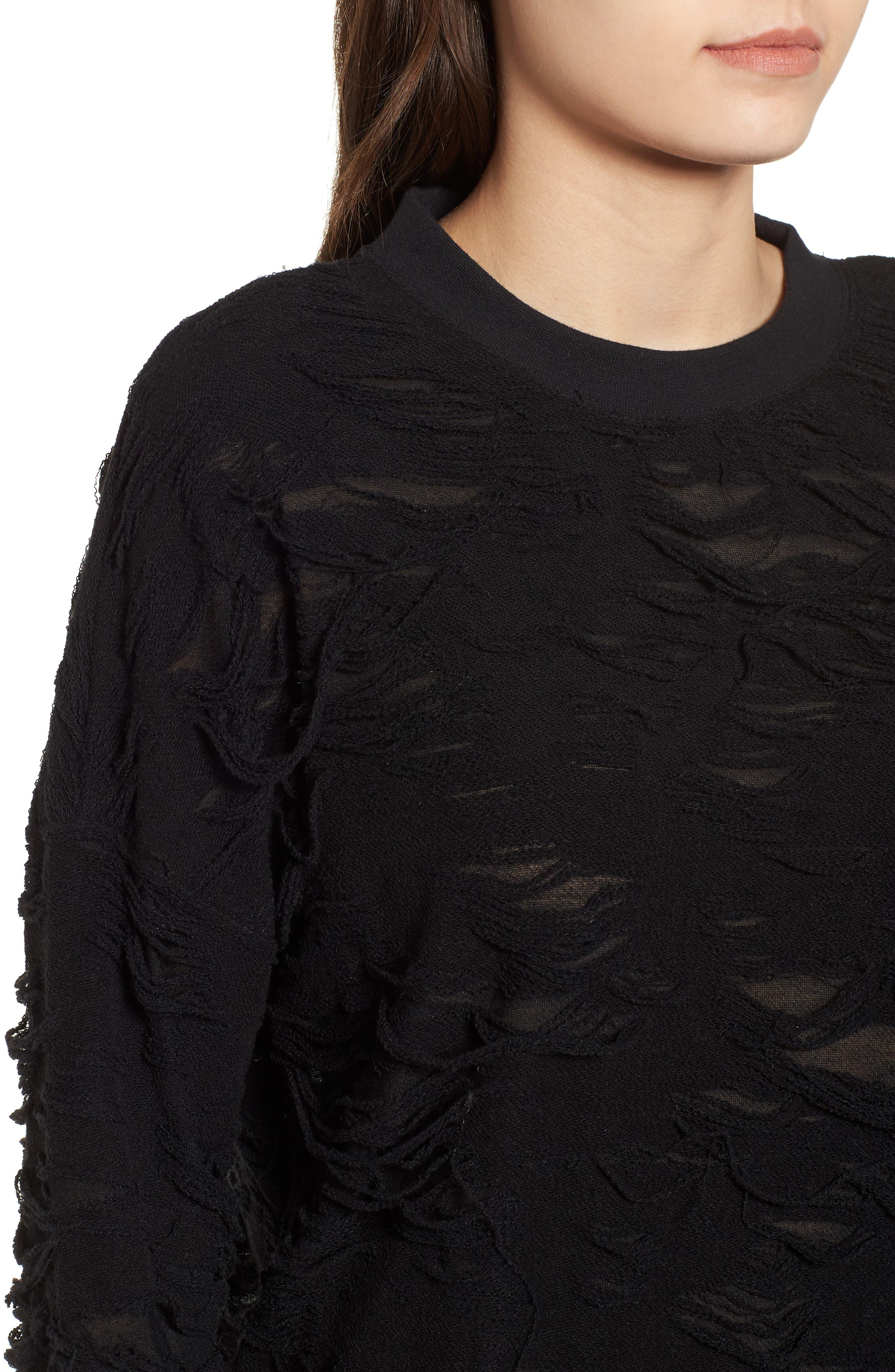 Me Too Slashed Sweatshirt,                             Alternate thumbnail 4, color,                             Black