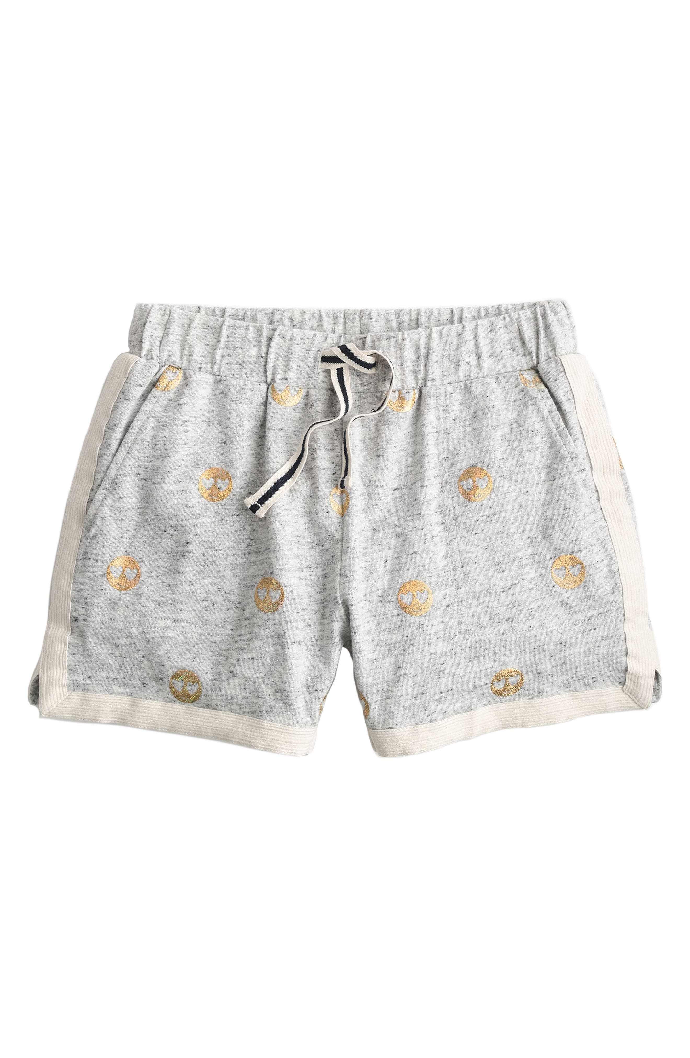 Ester Emoji Print Shorts,                             Main thumbnail 1, color,                             Heather Dove