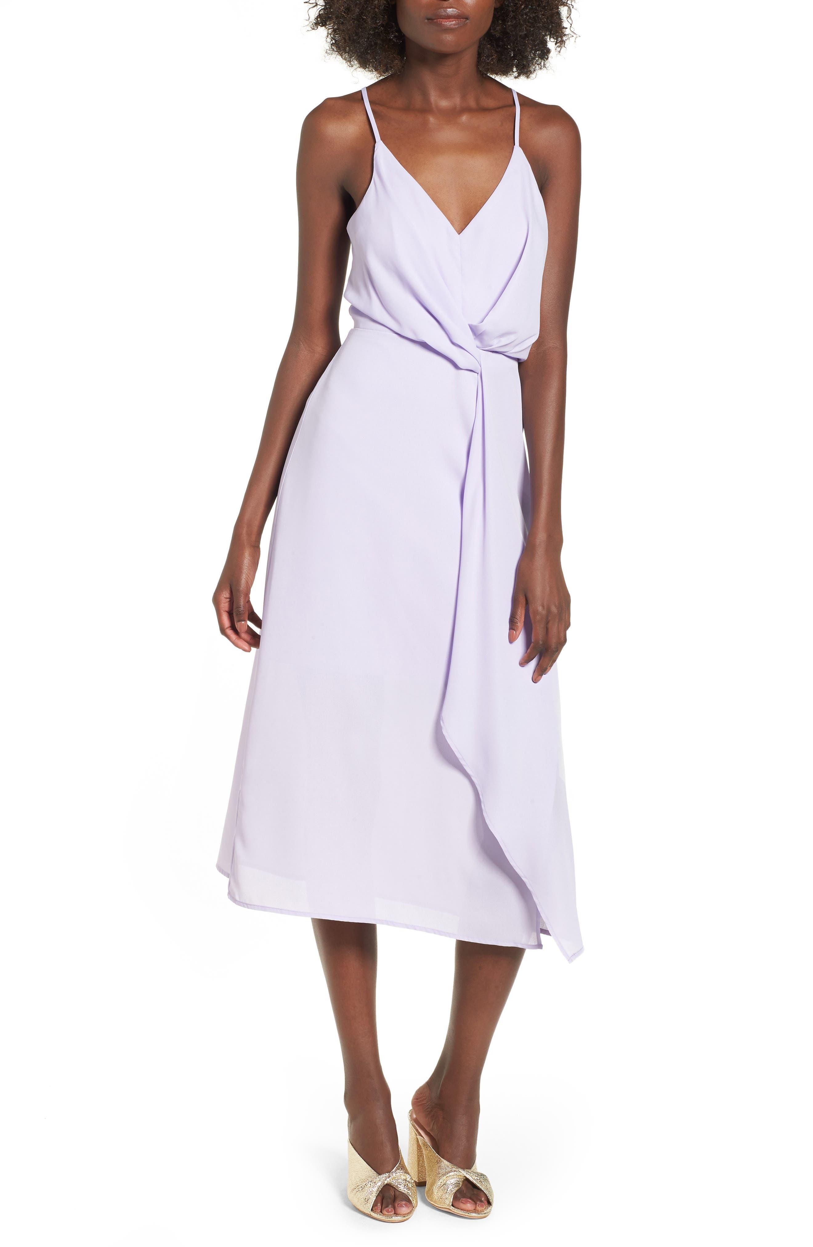 Knotted Waist Midi Dress,                         Main,                         color, Lilac