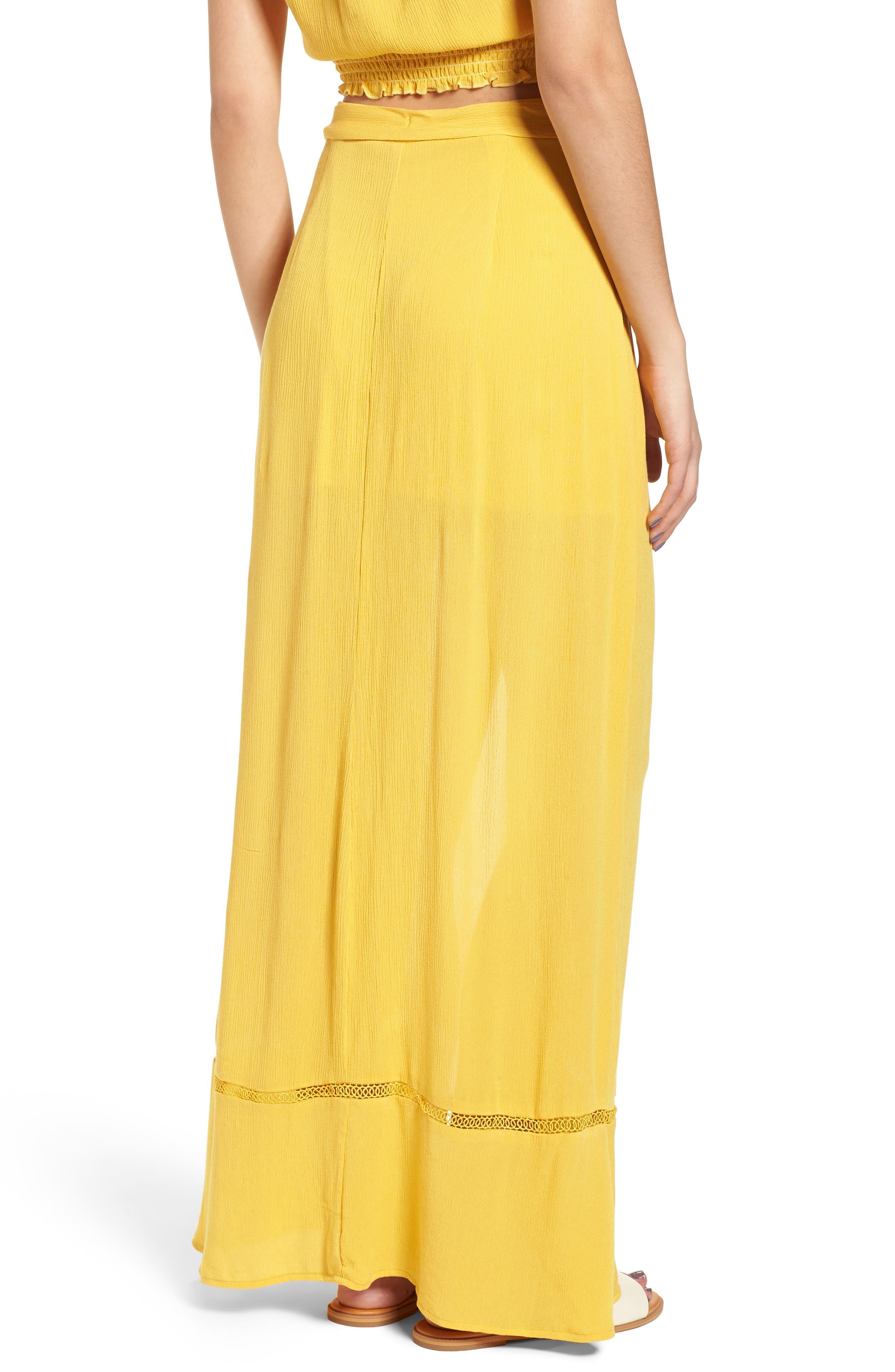 Slit Front Crochet Inset Maxi Skirt,                             Alternate thumbnail 3, color,                             Yellow Sulphur
