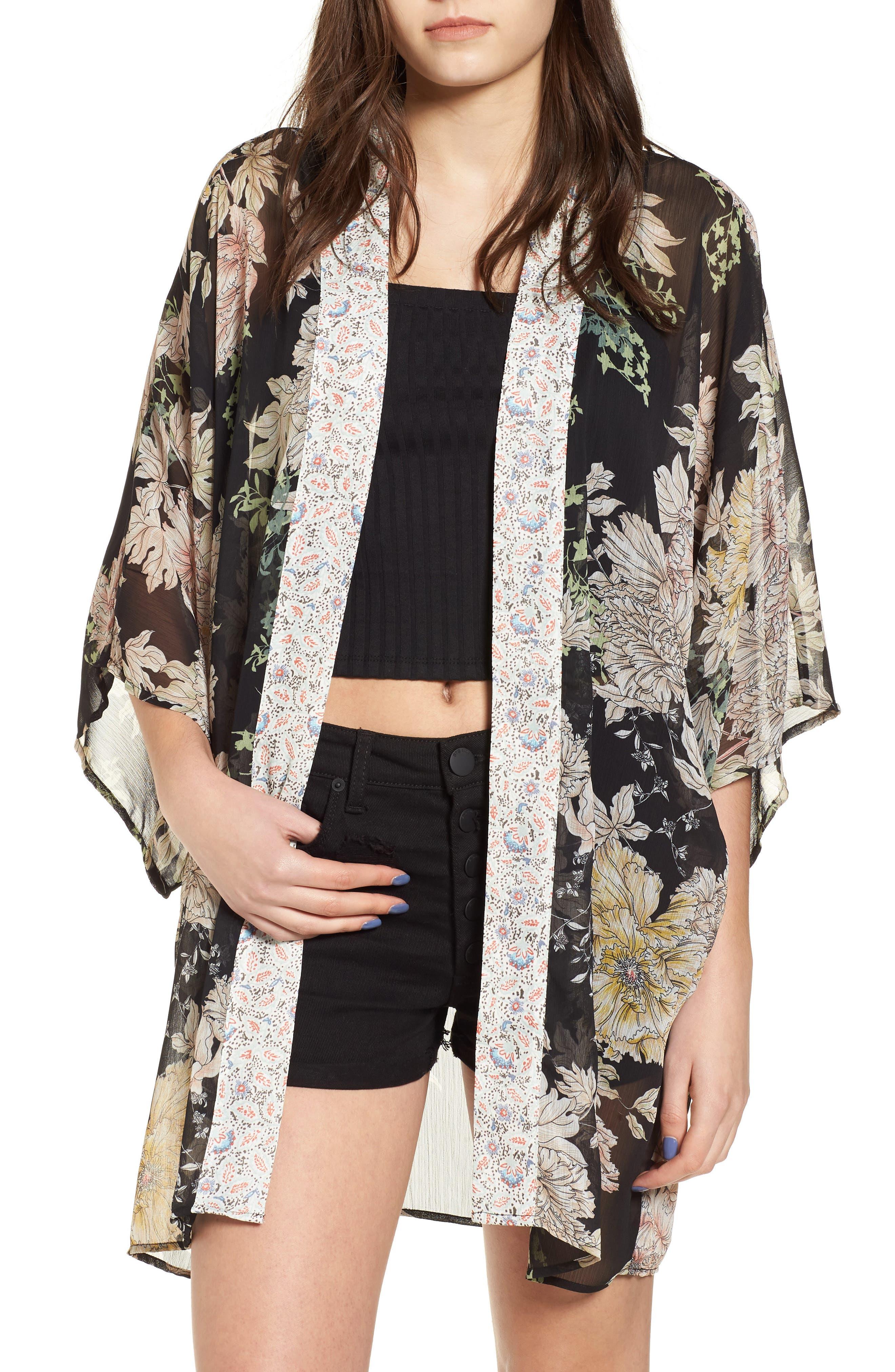 Floral Print Kimono,                             Main thumbnail 1, color,                             Black Gold Pink