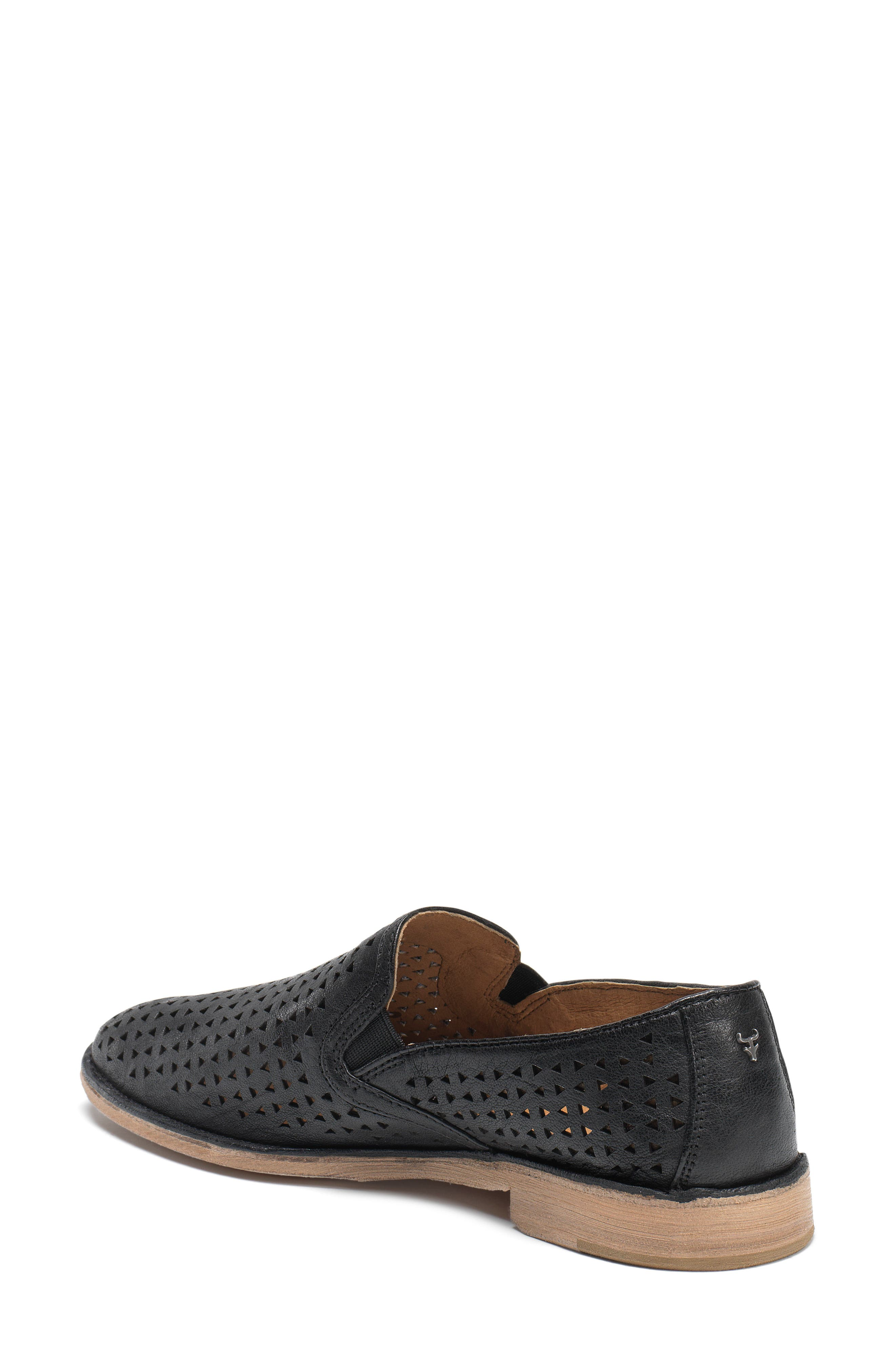 'Ali' Perforated Loafer,                             Alternate thumbnail 2, color,                             Black Leather