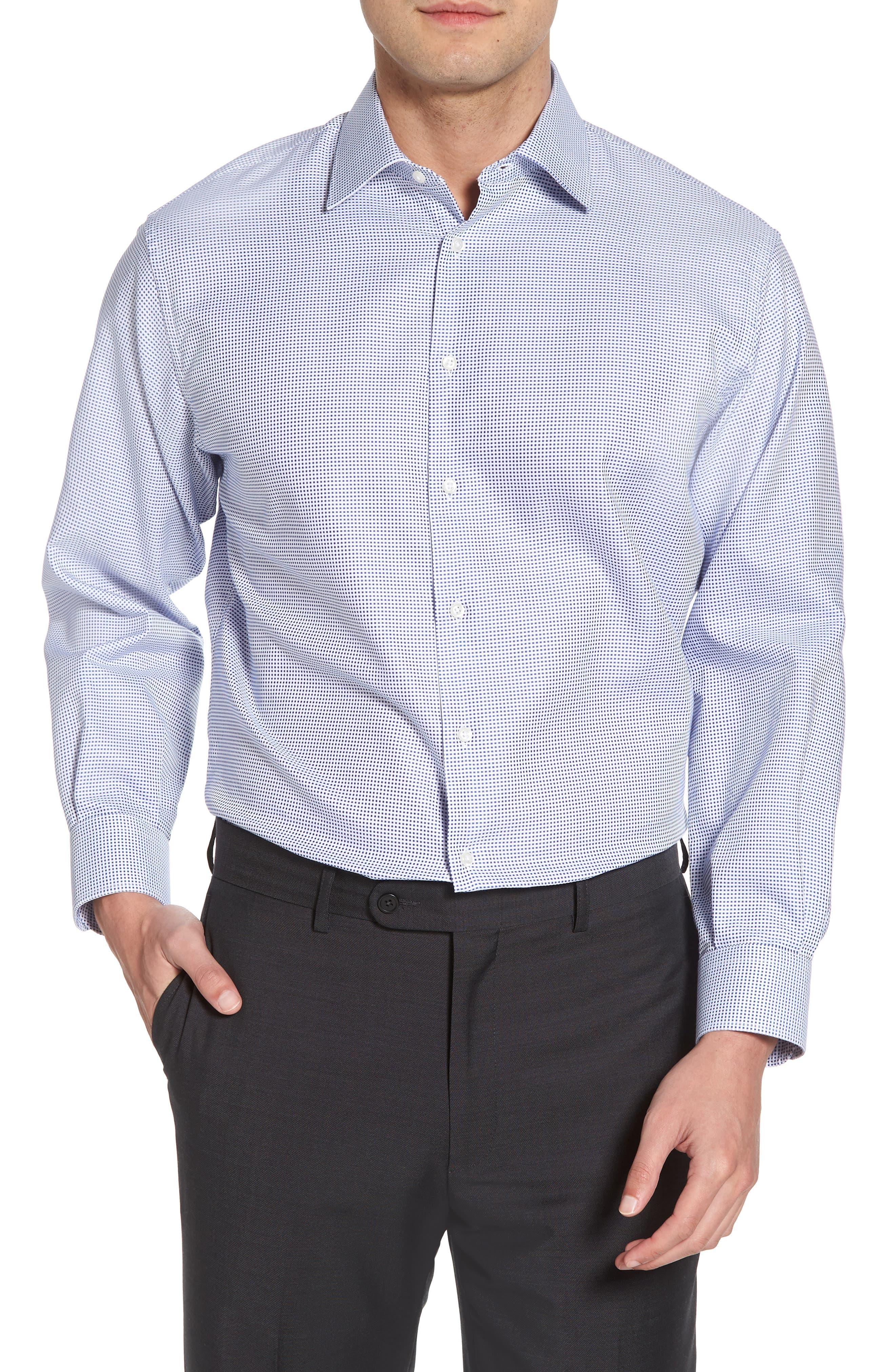 Classic Fit Microcheck Dress Shirt,                         Main,                         color, Blue Surf