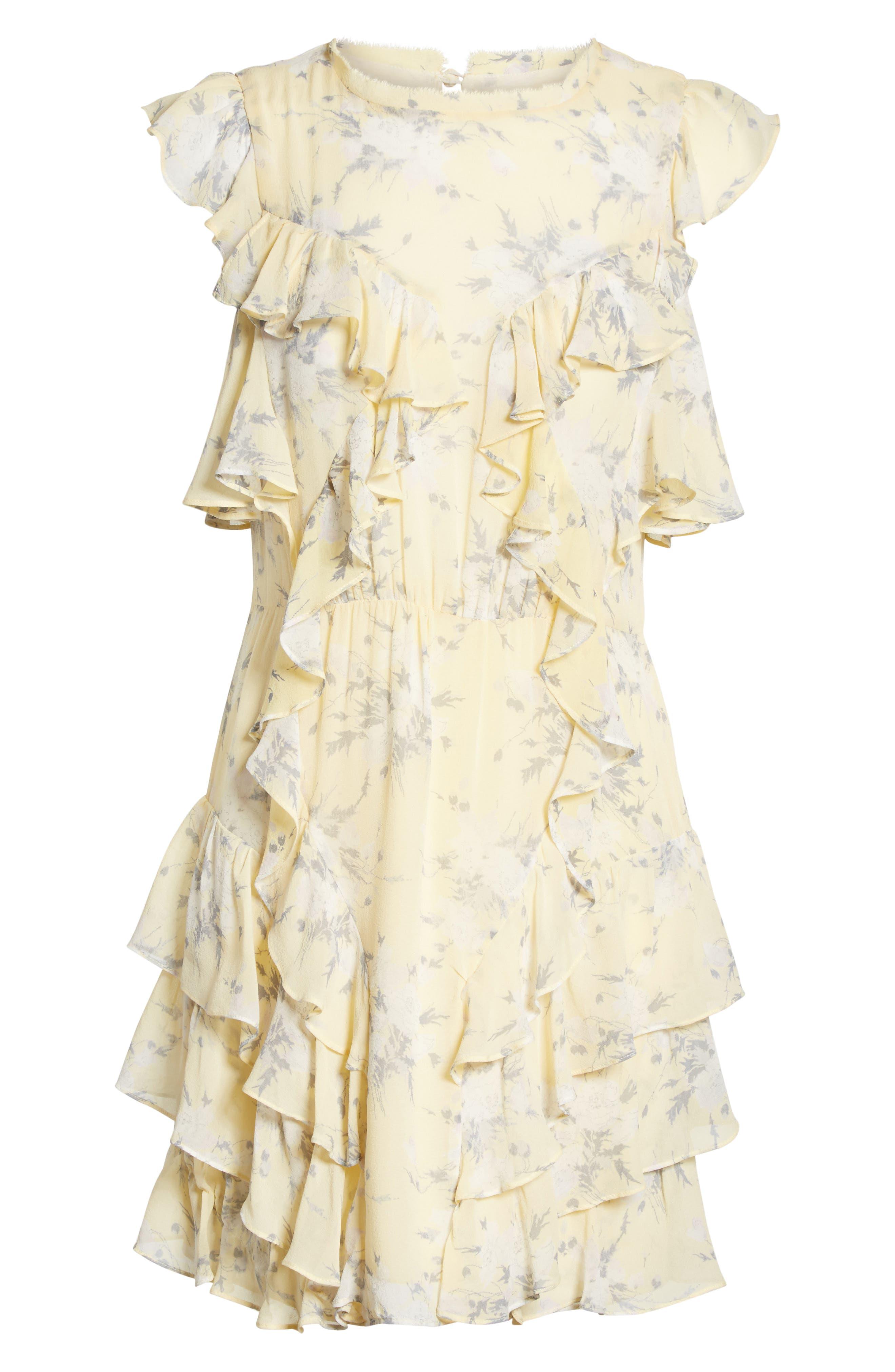 Cold Shoulder Lemon Rose Silk Dress,                             Alternate thumbnail 6, color,                             Lemon Combo
