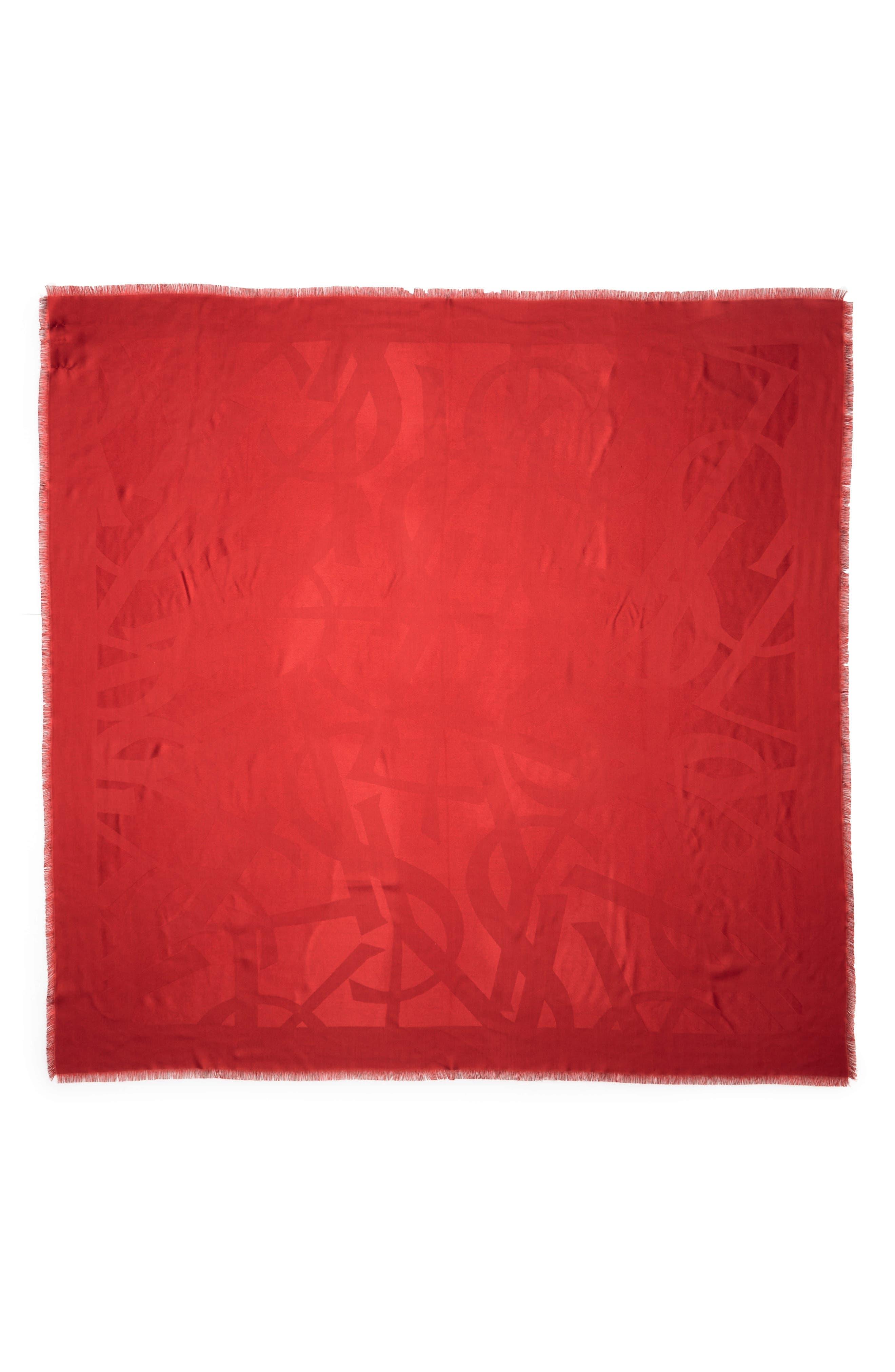 YSL Random Logo Jacquard Square Silk Scarf,                         Main,                         color, Lacquer