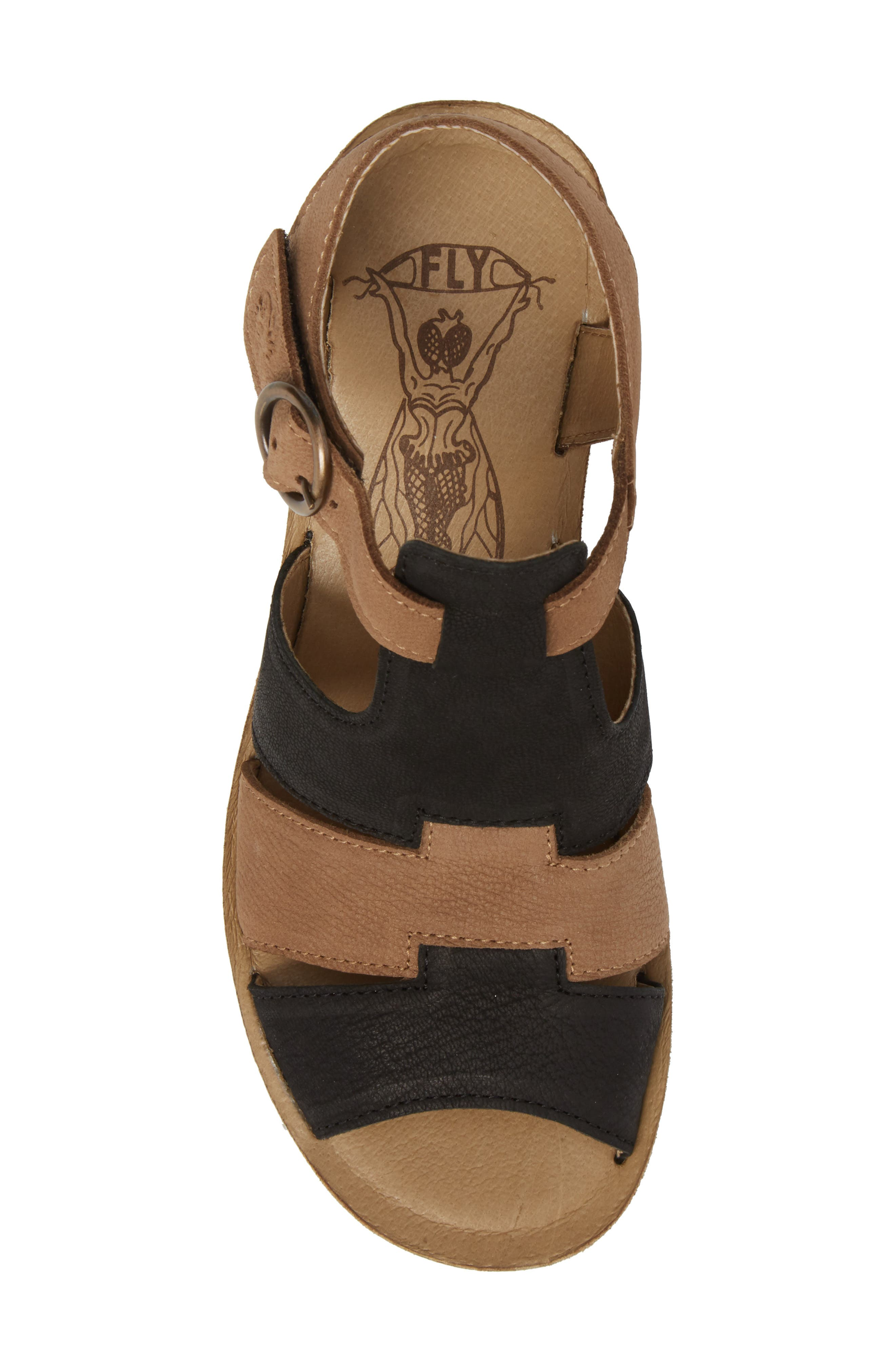 Yuni Wedge Sandal,                             Alternate thumbnail 5, color,                             Black/ Sand Cupido Leather