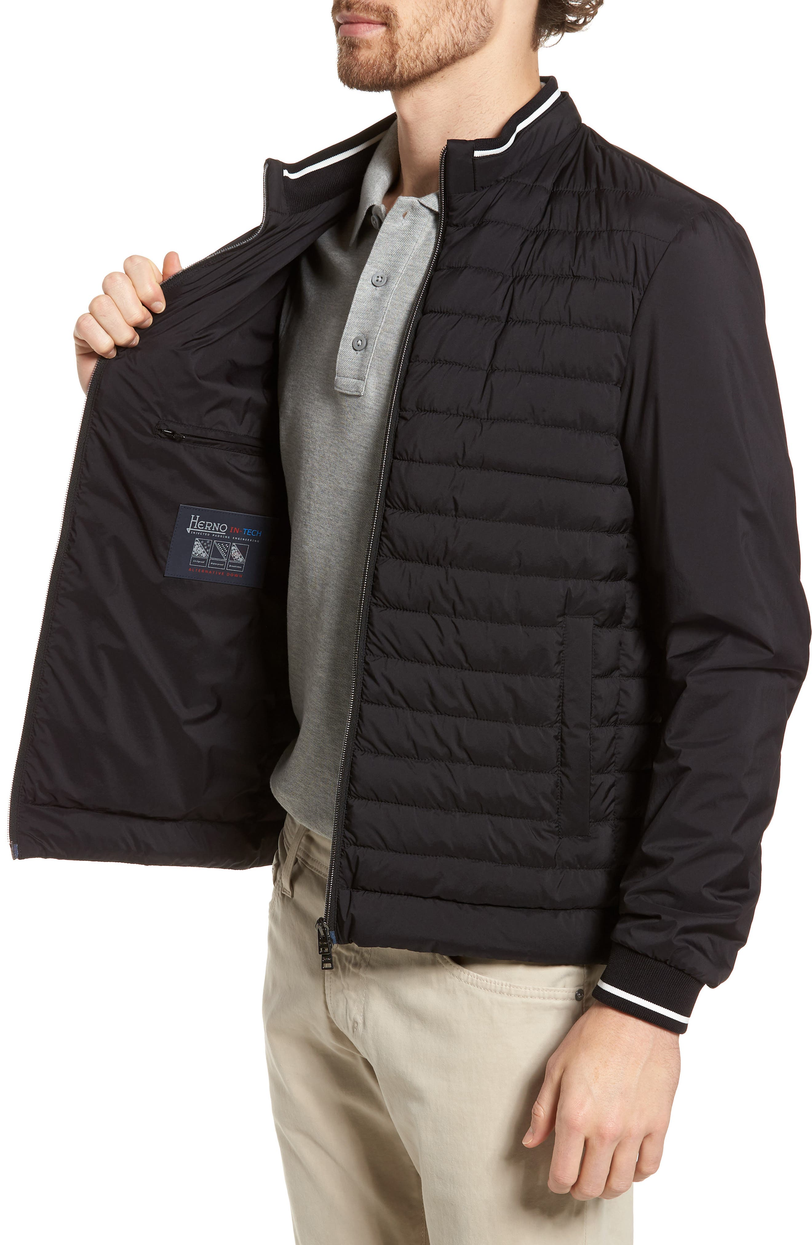 Tipped Quilted Jacket,                             Alternate thumbnail 3, color,                             Black