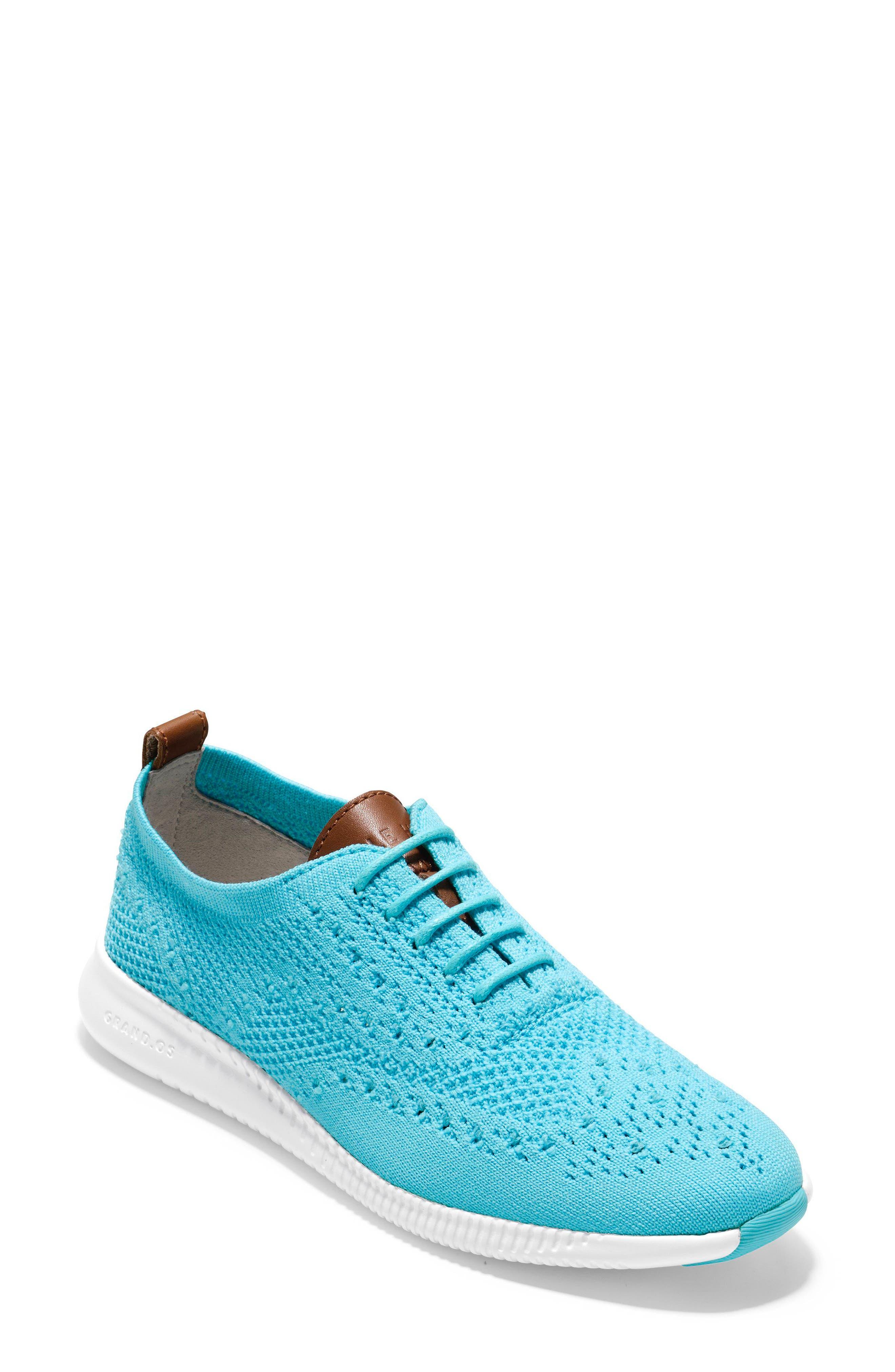 2.ZERØGRAND Stitchlite Wingtip Sneaker,                         Main,                         color, Bluefish Fabric