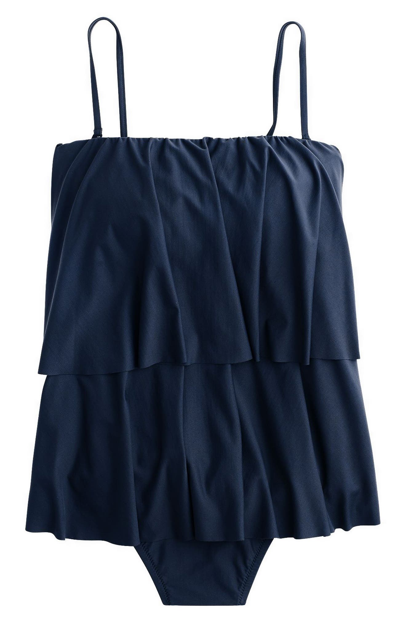 Ruffle Cami Tank One-Piece Swimsuit,                             Alternate thumbnail 3, color,                             Navy