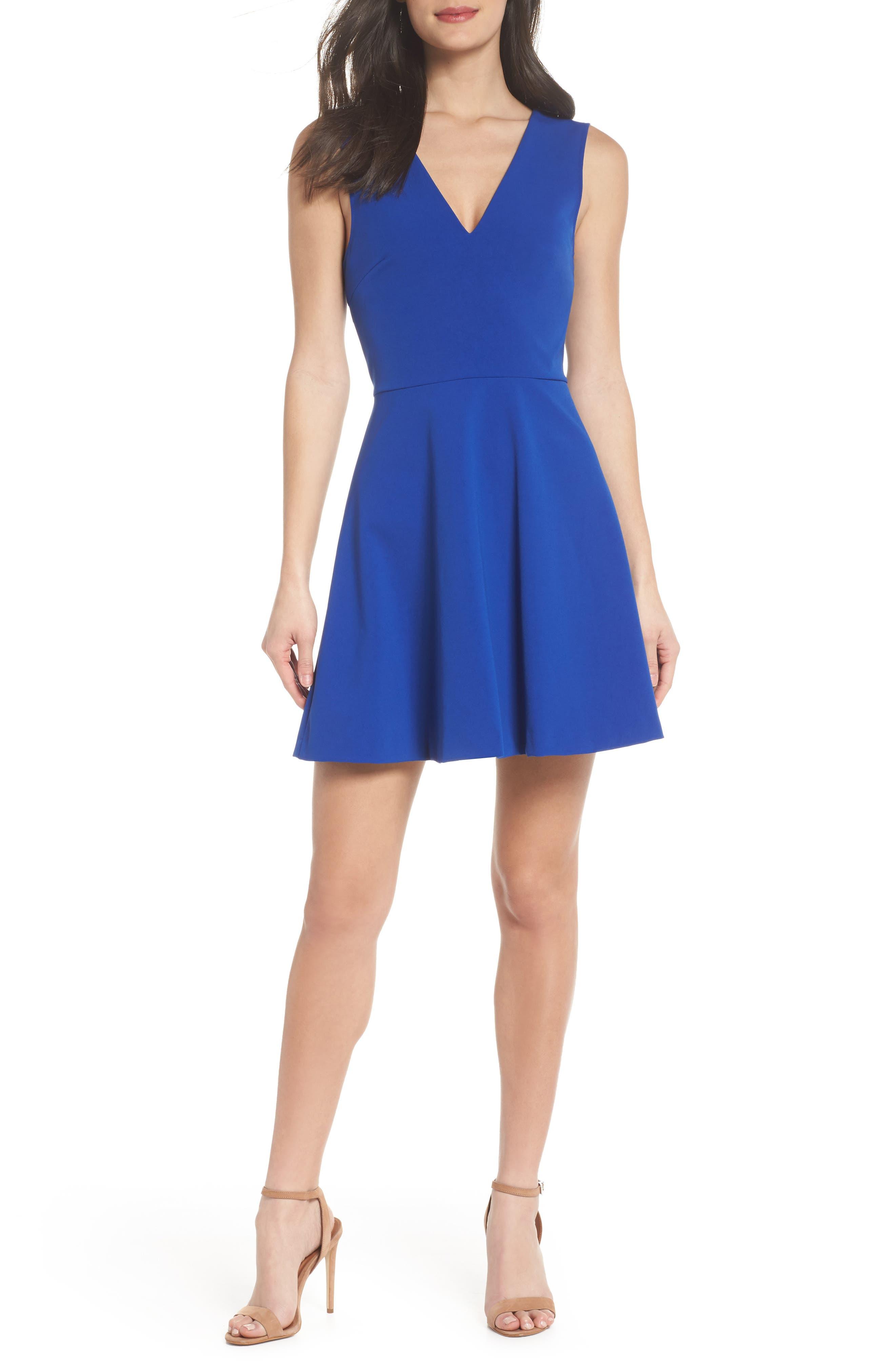 Bianca Back Cutout Fit & Flare Dress,                         Main,                         color, Cobalt