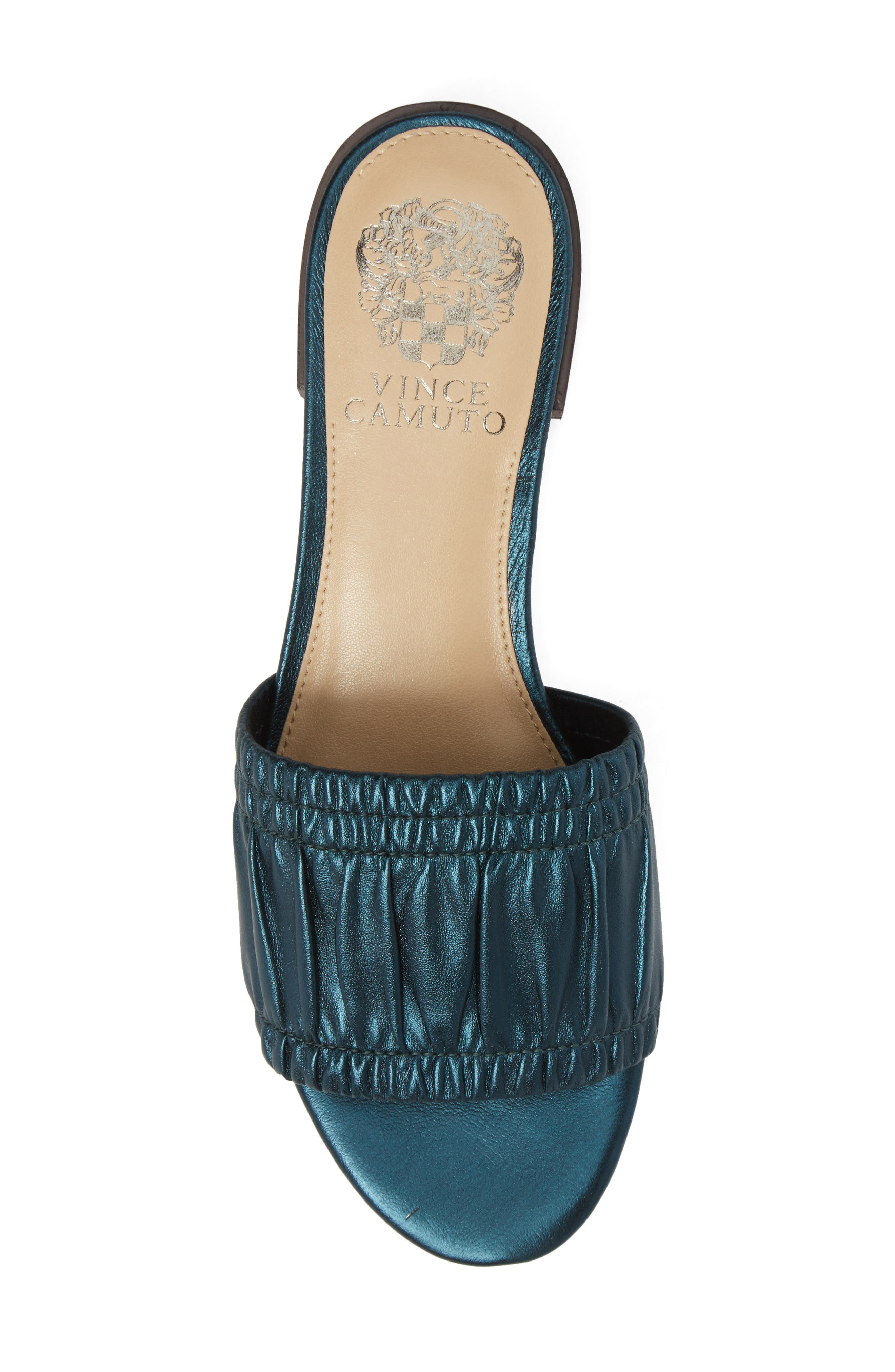 Nanita Pleated Slide Sandal,                             Alternate thumbnail 5, color,                             Metal Teal Fabric