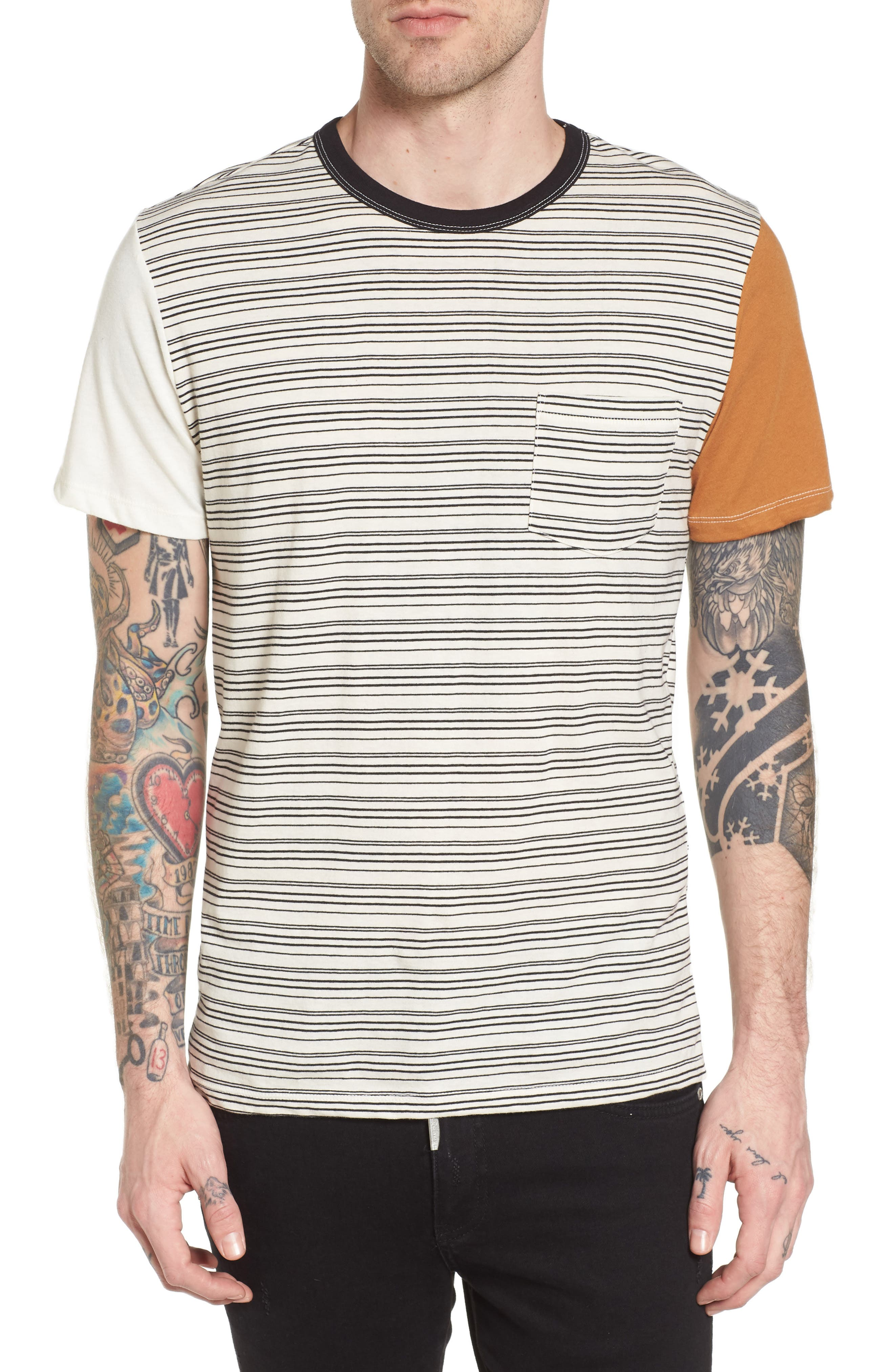 Blocked Ringer T-Shirt,                         Main,                         color, Ivory Black Block Stripe