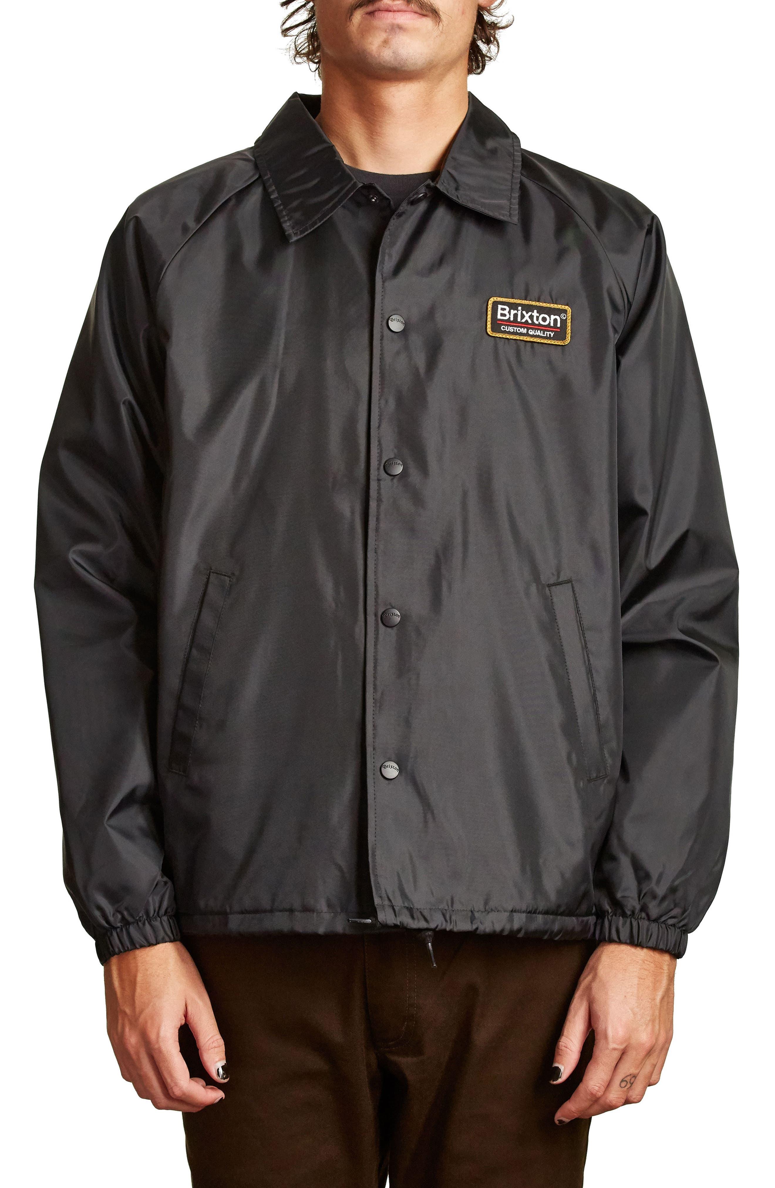 Palmer Water Resistant Coach's Jacket,                             Main thumbnail 1, color,                             Black