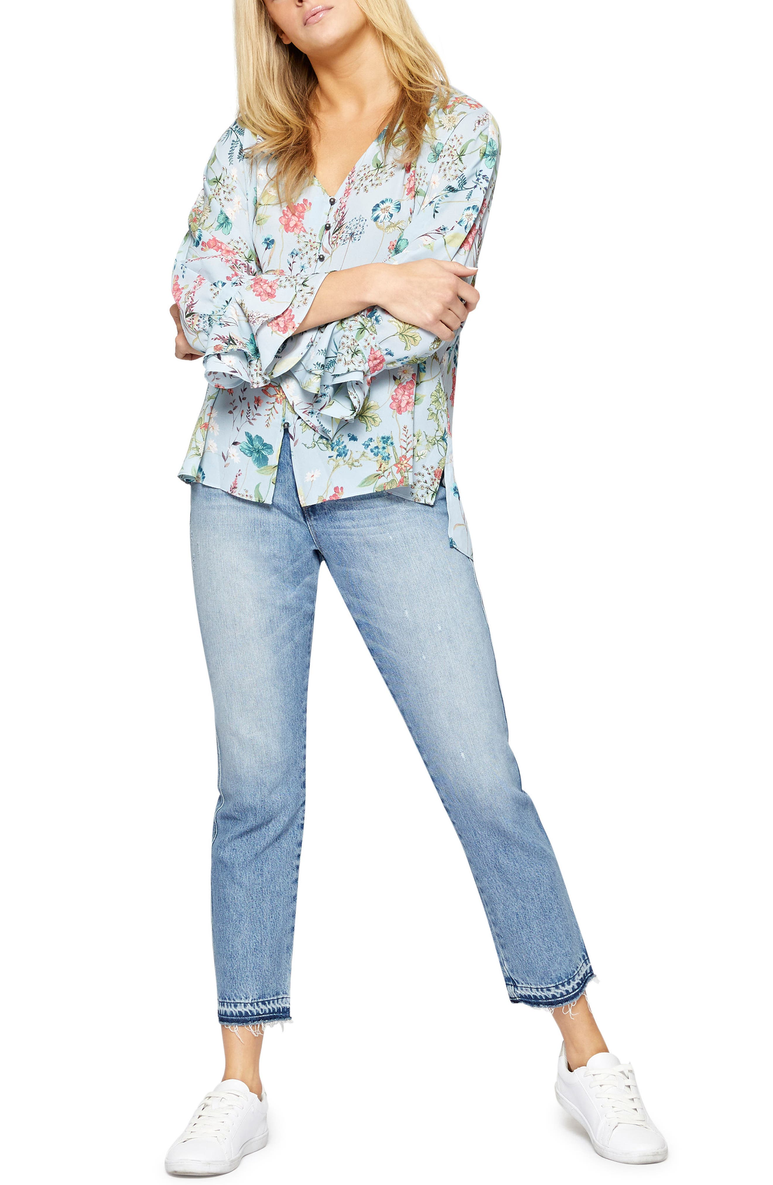 Posey Floral Blouse,                             Alternate thumbnail 4, color,                             Bluebell