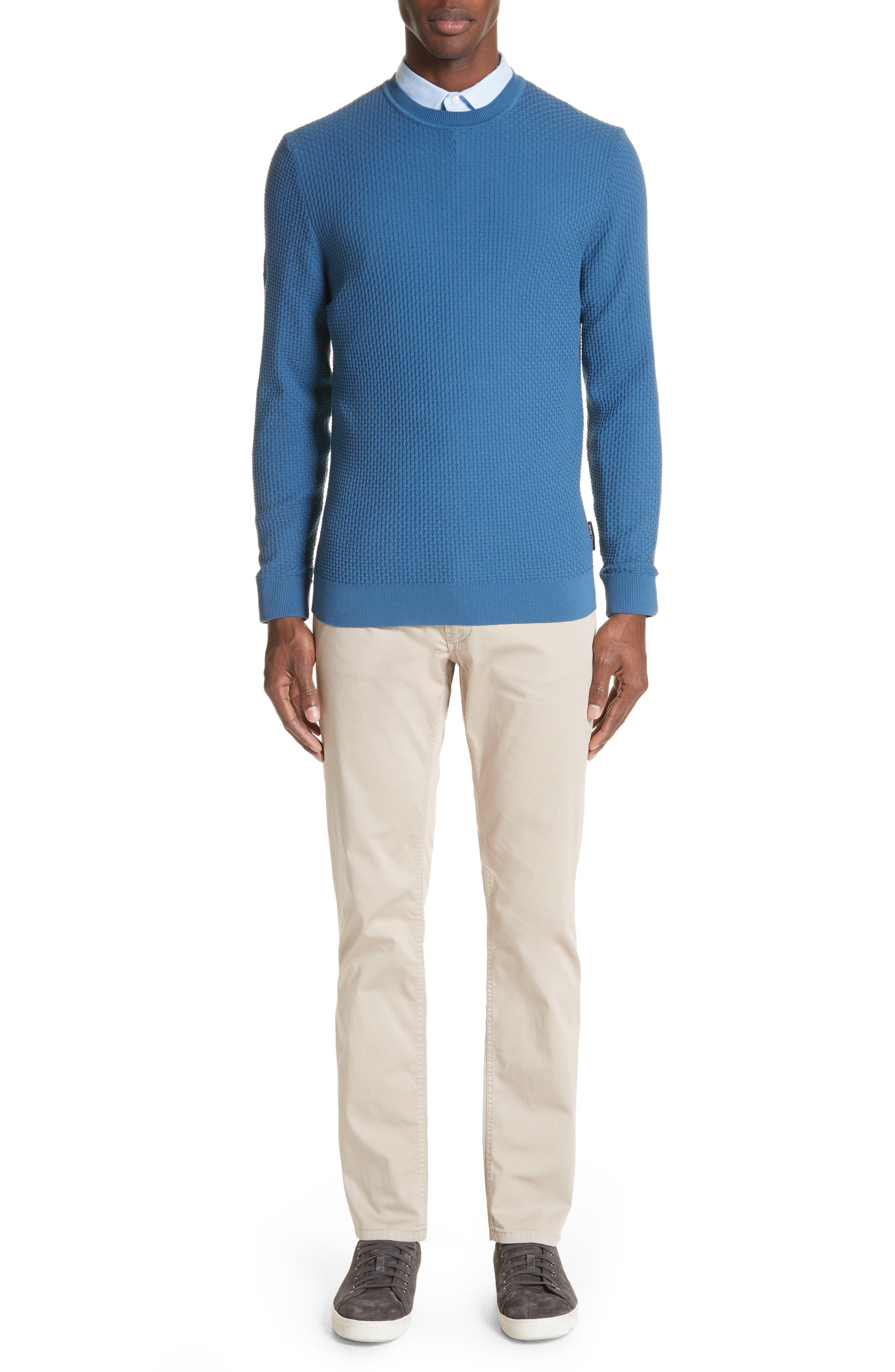 Slim Fit Textured Crew Sweater,                             Alternate thumbnail 7, color,                             Avio Scuro
