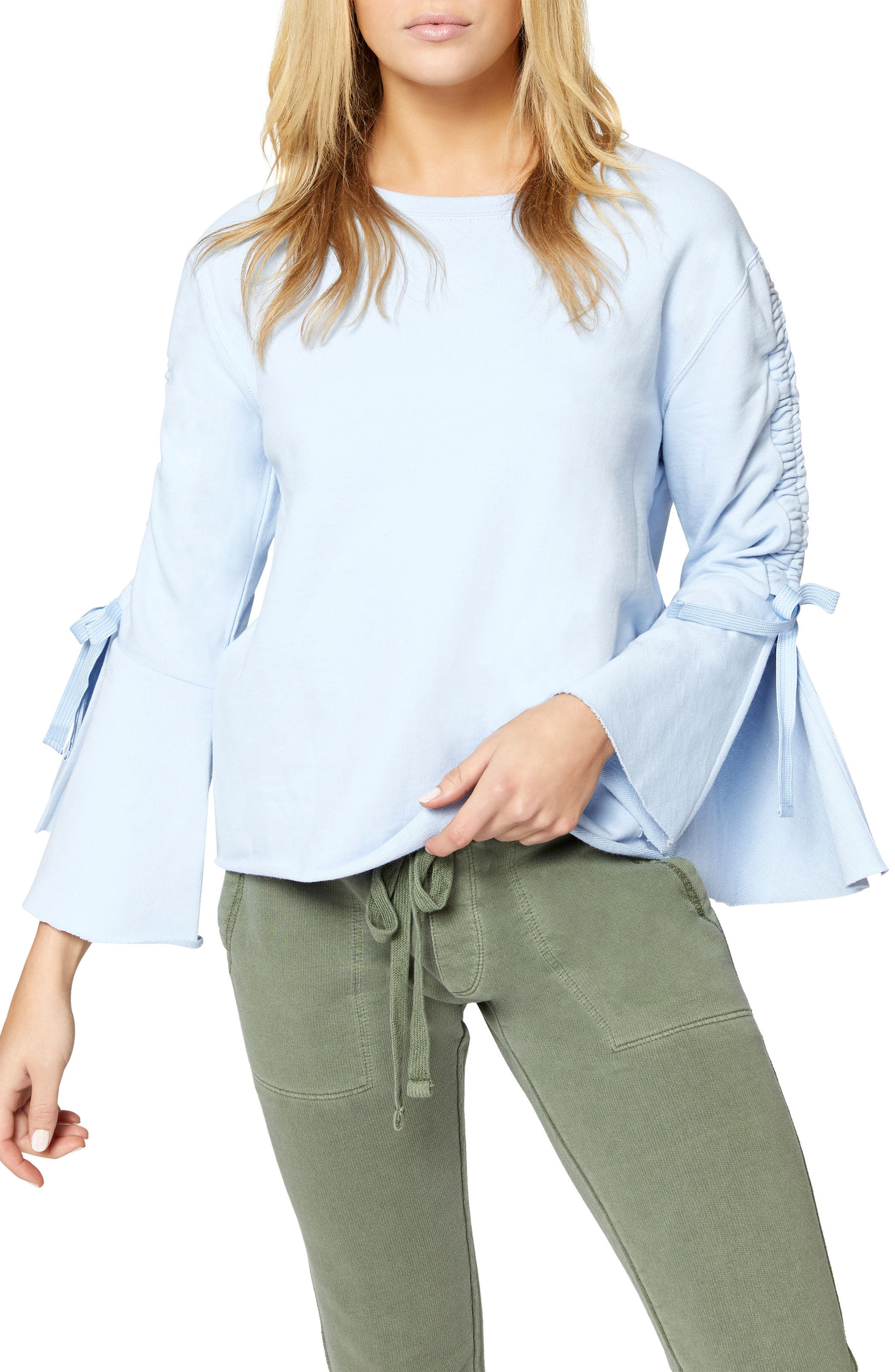 Upper West Bell Sleeve Sweatshirt,                             Main thumbnail 1, color,                             Bluebell