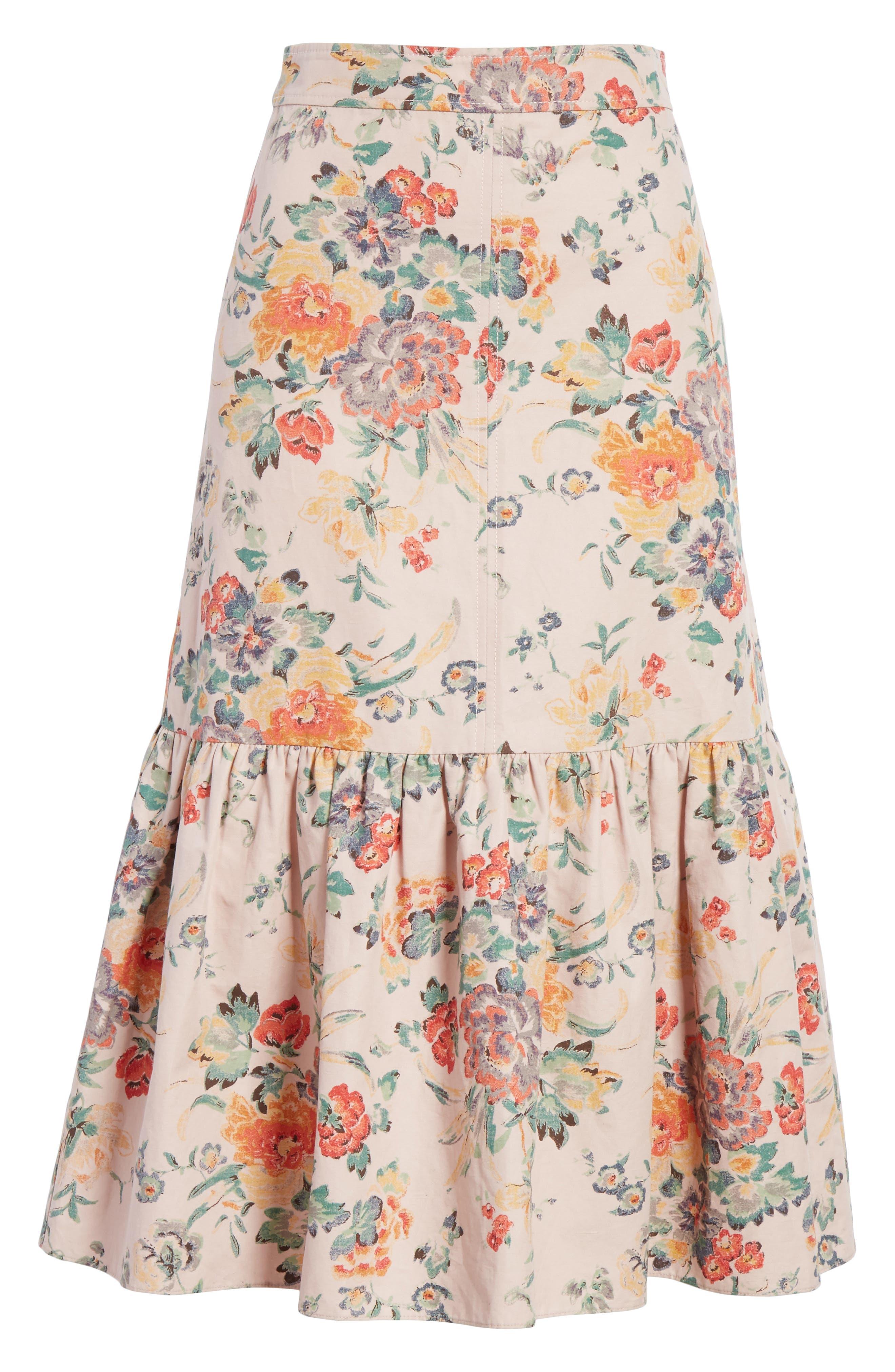 Marlena Ruffled Floral Skirt,                             Alternate thumbnail 6, color,                             Dusty Rose Combo
