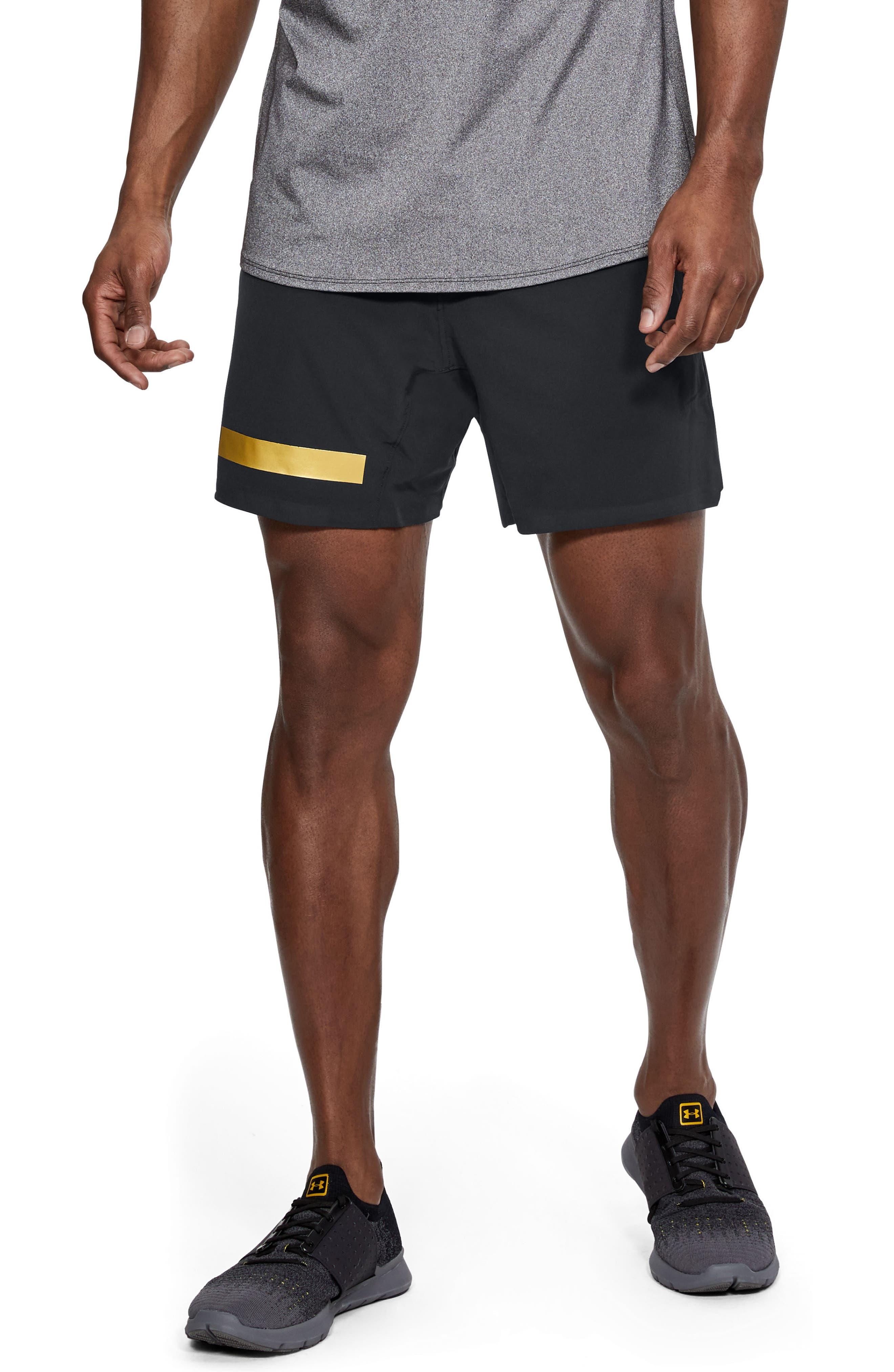 Perpetual Fitted Shorts,                             Main thumbnail 1, color,                             Black/ Metallic Victory Gold