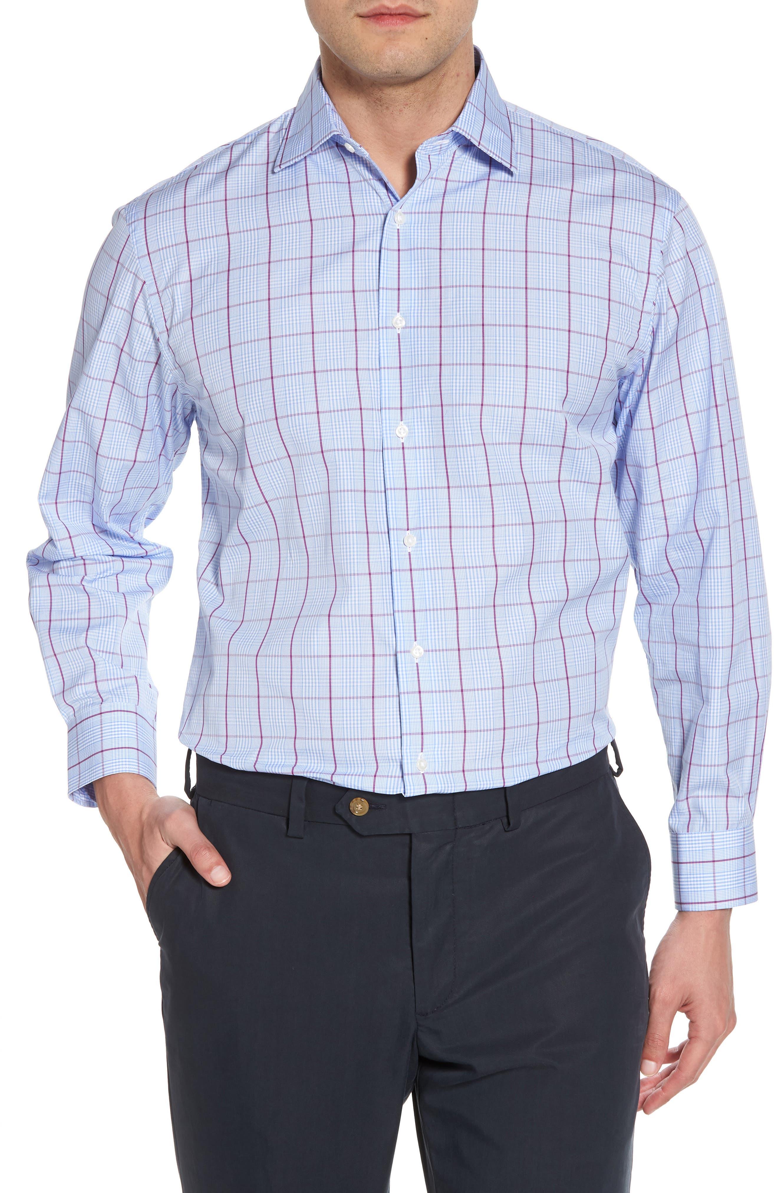 Traditional Fit Plaid Dress Shirt,                             Main thumbnail 1, color,                             Purple Sparkle