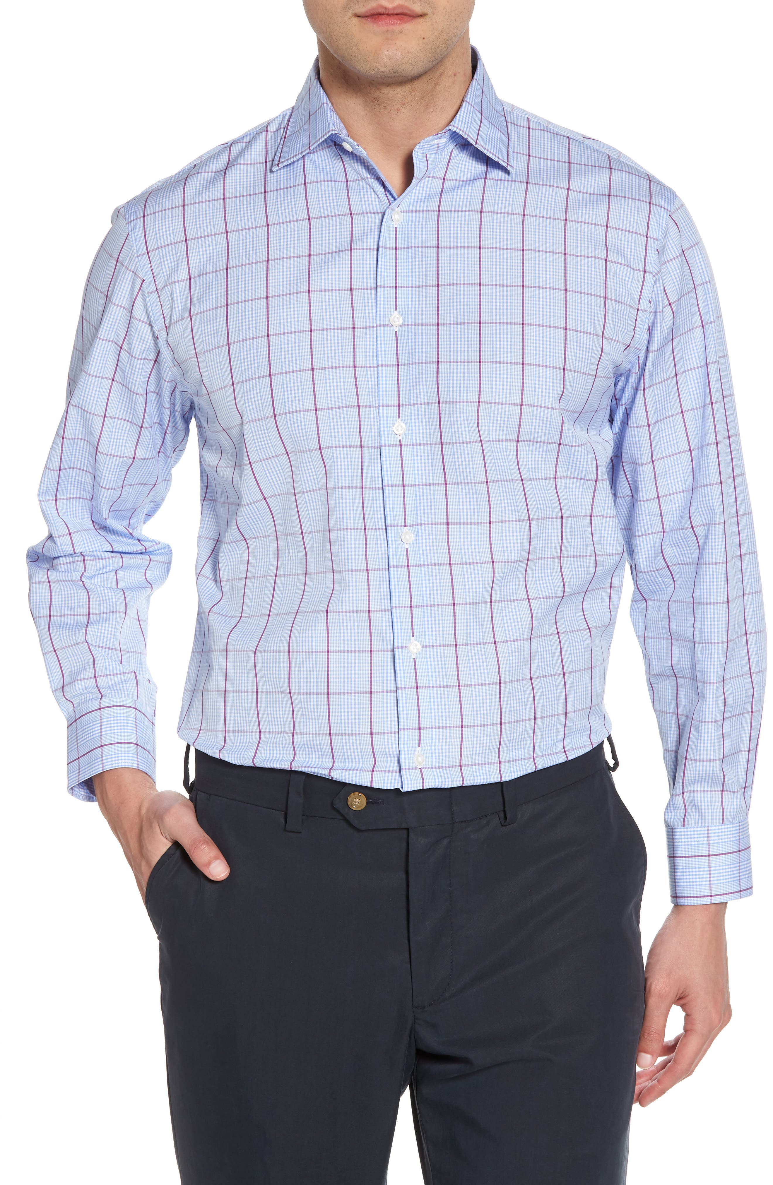Traditional Fit Plaid Dress Shirt,                         Main,                         color, Purple Sparkle