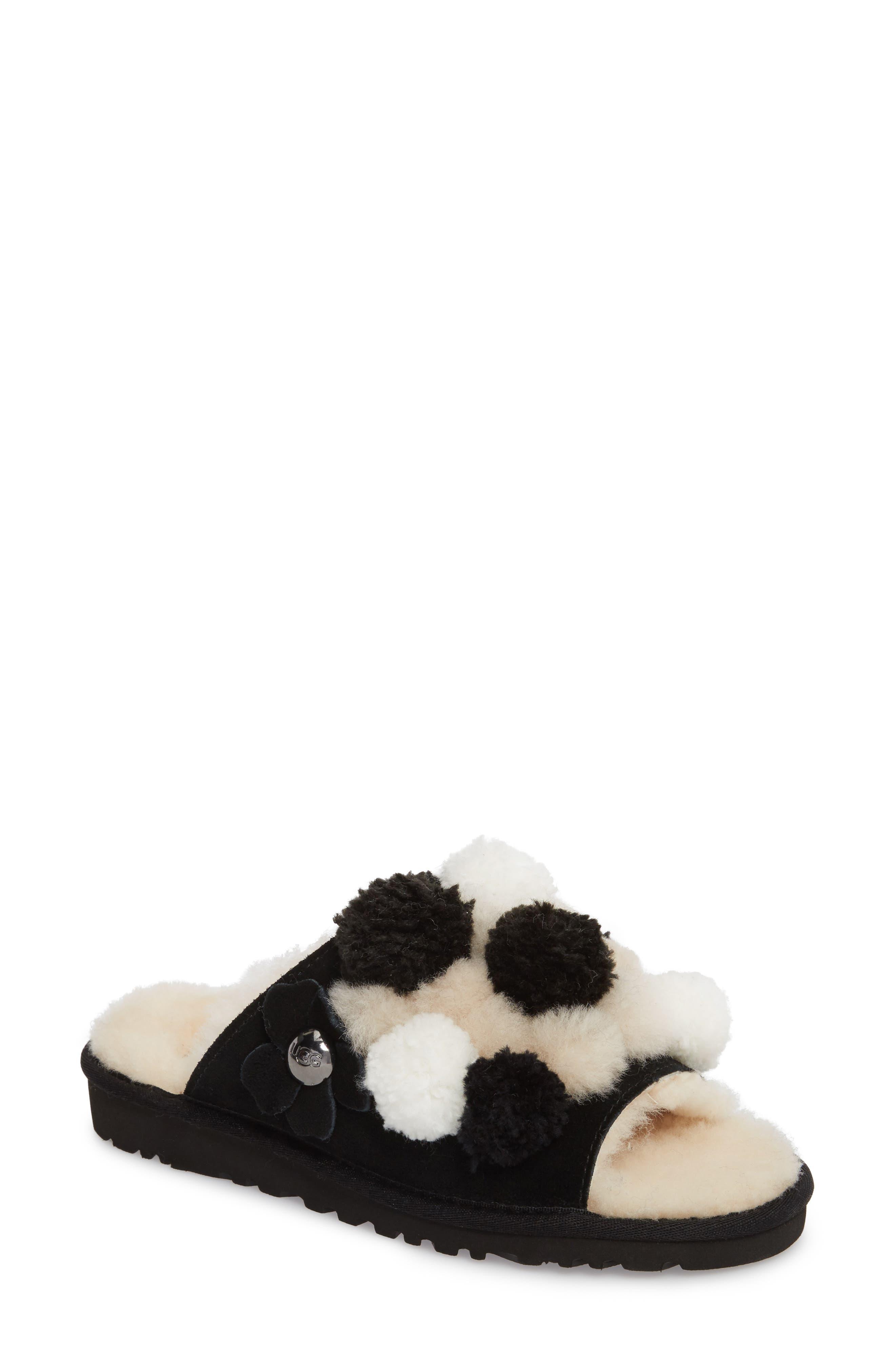 Clio Pom Pom Slide Sandal,                         Main,                         color, Black Suede